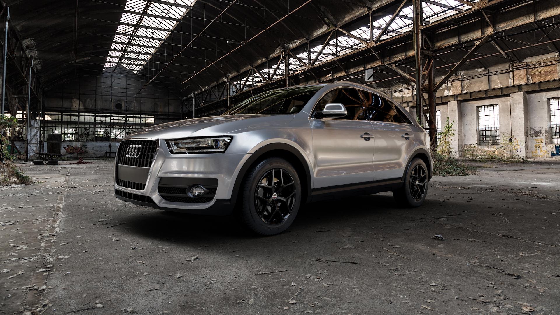 Borbet Y black glossy Felge mit Reifen schwarz in 17Zoll Winterfelge Alufelge auf silbernem Audi Q3 I Typ 8U ⬇️ mit 15mm Tieferlegung ⬇️ Industriehalle 1 Camera_000