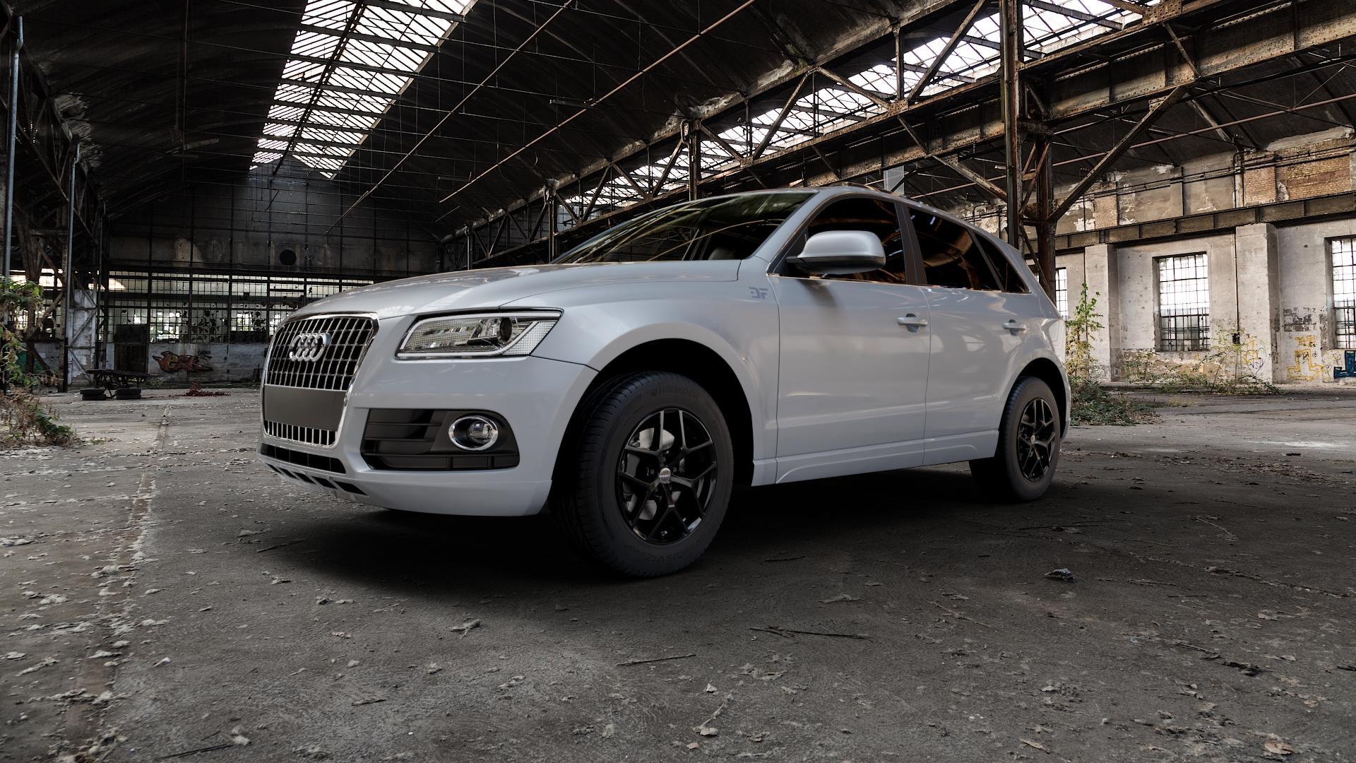 Borbet Y black glossy Felge mit Reifen schwarz in 17Zoll Winterfelge Alufelge auf silbernem Audi Q5 I Typ 8R ⬇️ mit 15mm Tieferlegung ⬇️ Industriehalle 1 Camera_000