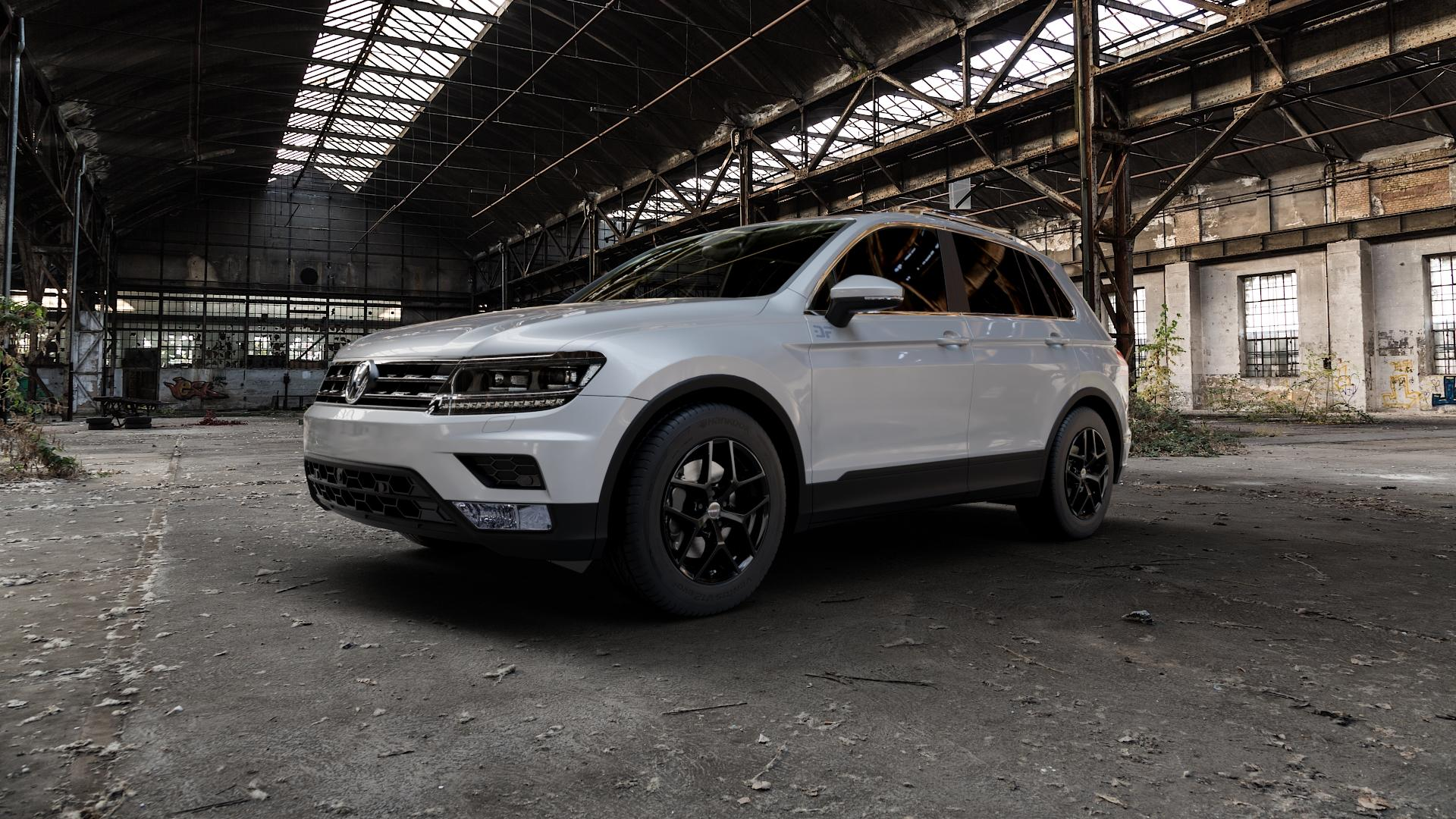 Borbet Y black glossy Felge mit Reifen schwarz in 17Zoll Winterfelge Alufelge auf silbernem Volkswagen (VW) Tiguan II Typ 5N ⬇️ mit 15mm Tieferlegung ⬇️ Industriehalle 1 Camera_000