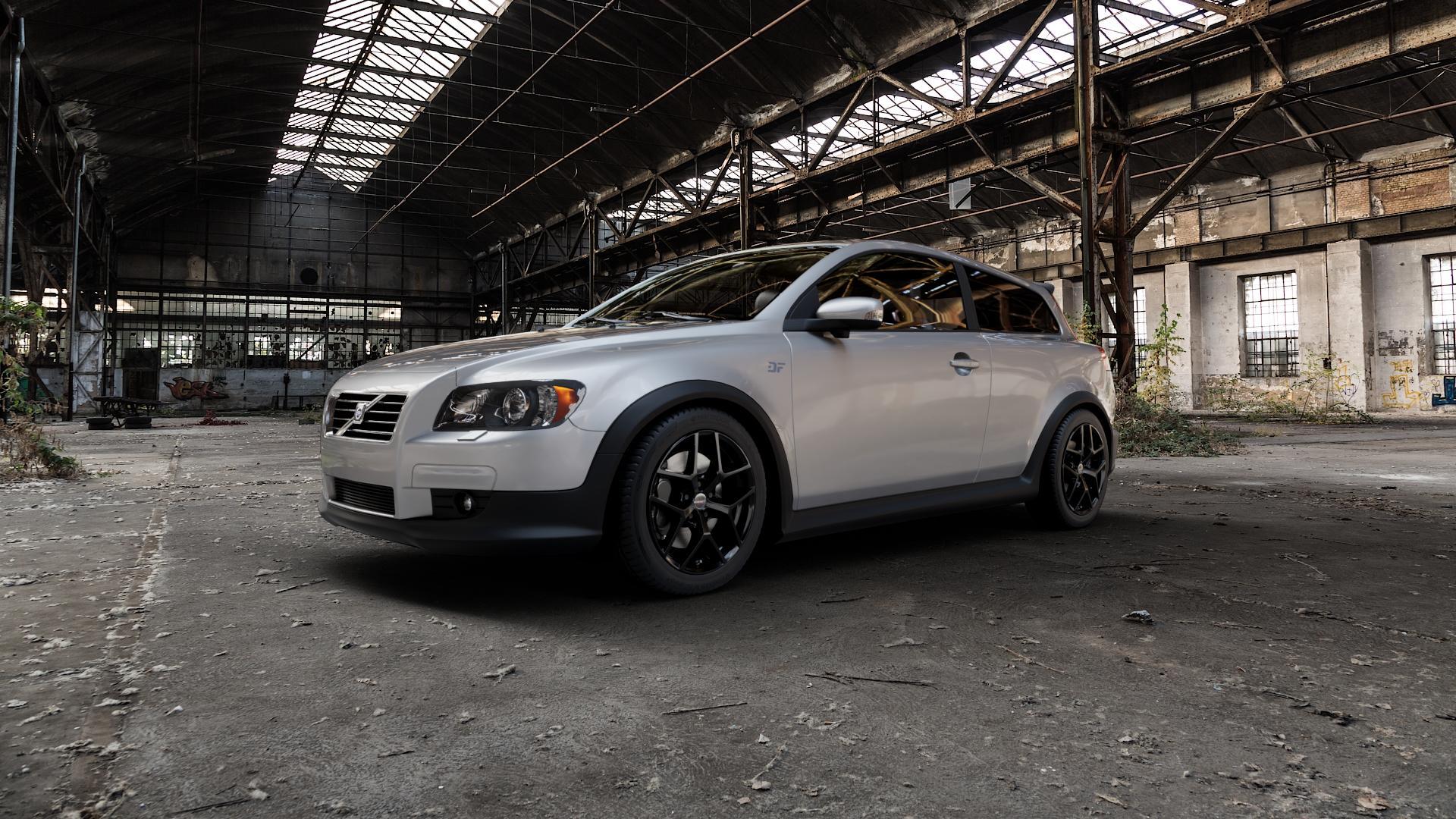 Borbet Y black glossy Felge mit Reifen schwarz in 17Zoll Winterfelge Alufelge auf silbernem Volvo C30 ⬇️ mit 15mm Tieferlegung ⬇️ Industriehalle 1 Camera_000