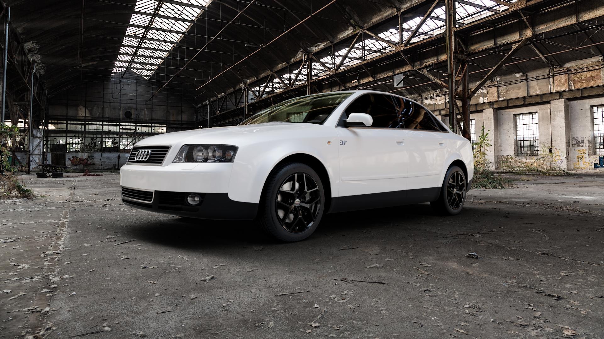 Borbet Y black glossy Felge mit Reifen schwarz in 17Zoll Winterfelge Alufelge auf weissem Audi A4 Typ 8E2/B6 (Limousine) ⬇️ mit 15mm Tieferlegung ⬇️ Industriehalle 1 Camera_000