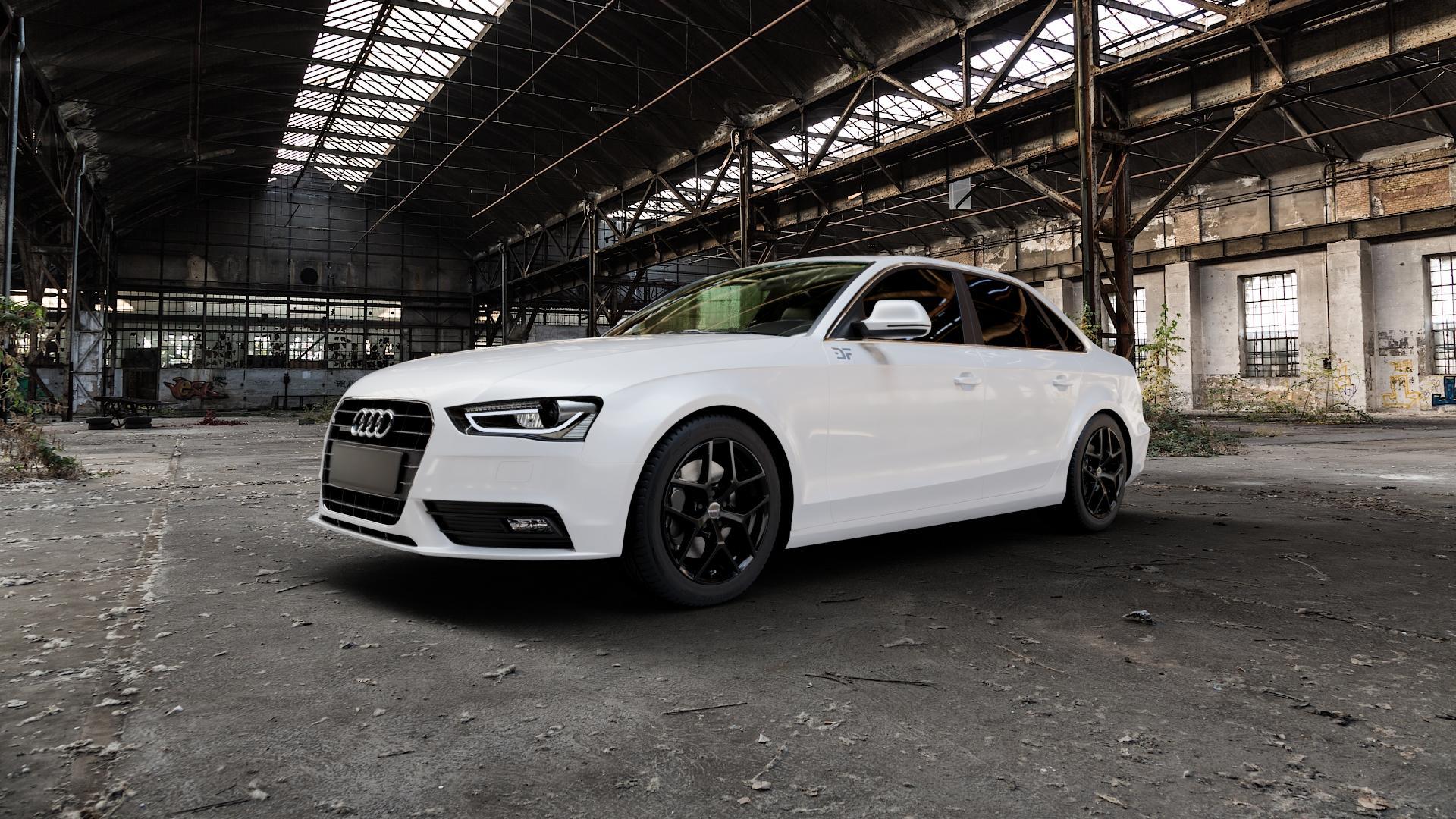 Borbet Y black glossy Felge mit Reifen schwarz in 17Zoll Winterfelge Alufelge auf weissem Audi A4 Typ 8K2/B8 (Limousine) Facelift ⬇️ mit 15mm Tieferlegung ⬇️ Industriehalle 1 Camera_000
