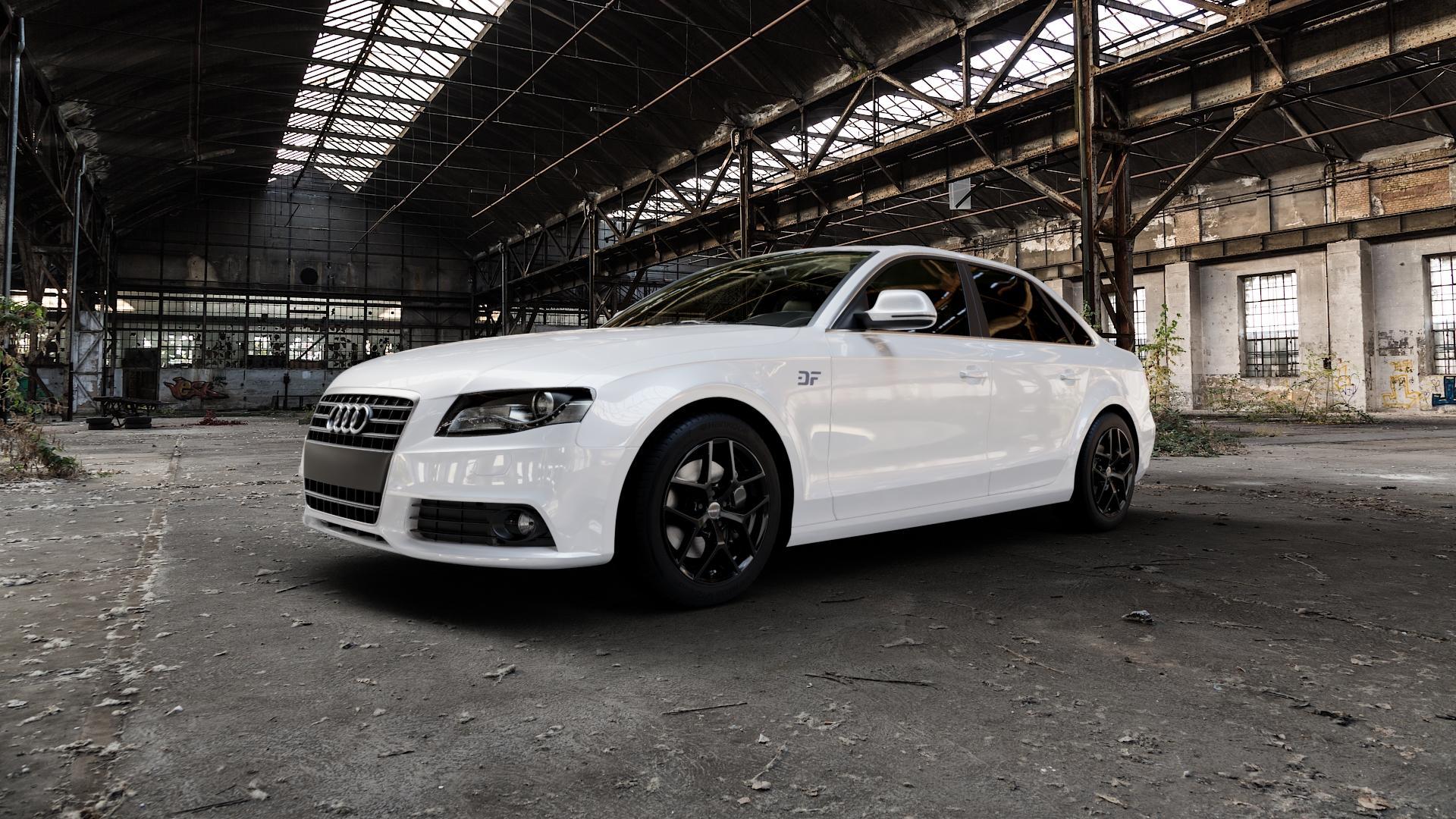 Borbet Y black glossy Felge mit Reifen schwarz in 17Zoll Winterfelge Alufelge auf weissem Audi A4 Typ 8K2/B8 (Limousine) ⬇️ mit 15mm Tieferlegung ⬇️ Industriehalle 1 Camera_000