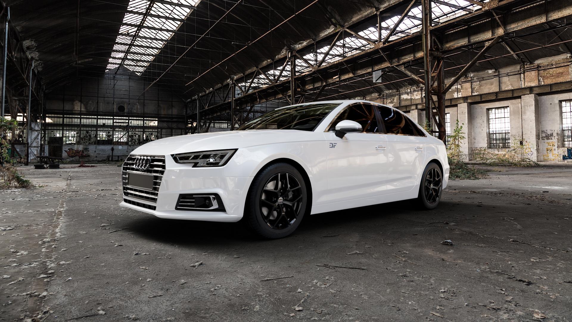 Borbet Y black glossy Felge mit Reifen schwarz in 17Zoll Winterfelge Alufelge auf weissem Audi A4 Typ B9 (Limousine) ⬇️ mit 15mm Tieferlegung ⬇️ Industriehalle 1 Camera_000