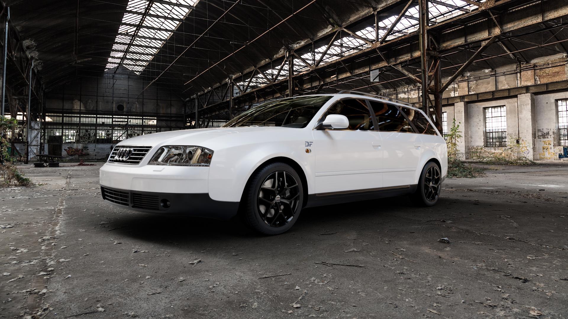 Borbet Y black glossy Felge mit Reifen schwarz in 17Zoll Winterfelge Alufelge auf weissem Audi A6 Typ 4B/C5 (Avant) ⬇️ mit 15mm Tieferlegung ⬇️ Industriehalle 1 Camera_000