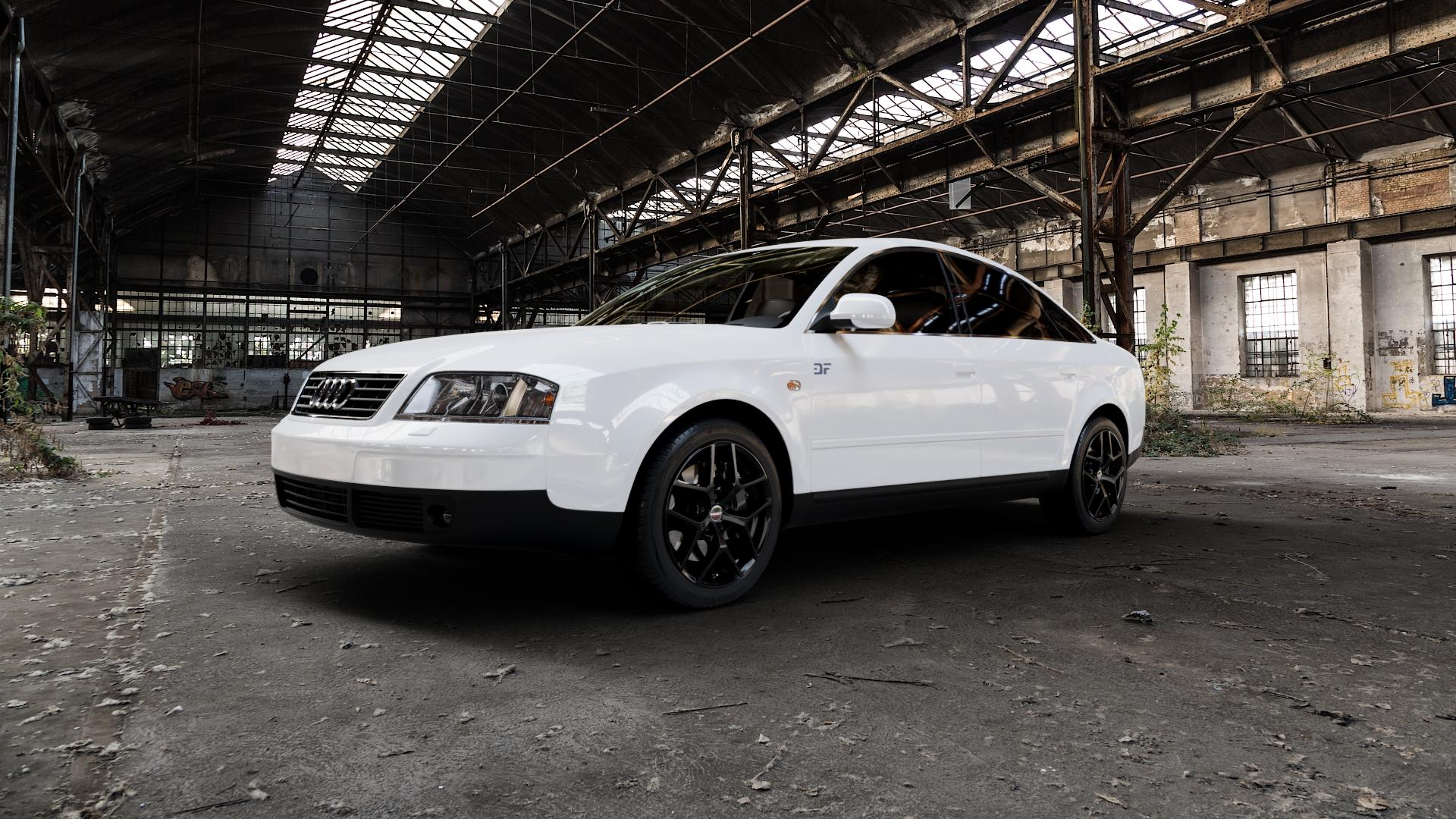 Borbet Y black glossy Felge mit Reifen schwarz in 17Zoll Winterfelge Alufelge auf weissem Audi A6 Typ 4B/C5 (Limousine) ⬇️ mit 15mm Tieferlegung ⬇️ Industriehalle 1 Camera_000