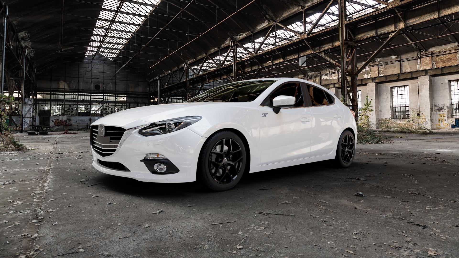 Borbet Y black glossy Felge mit Reifen schwarz in 17Zoll Winterfelge Alufelge auf weissem Mazda 3 (13-) Stufenheck (BM) Sport (17-) Facelift Fließheck ⬇️ mit 15mm Tieferlegung ⬇️ Industriehalle 1 Camera_000