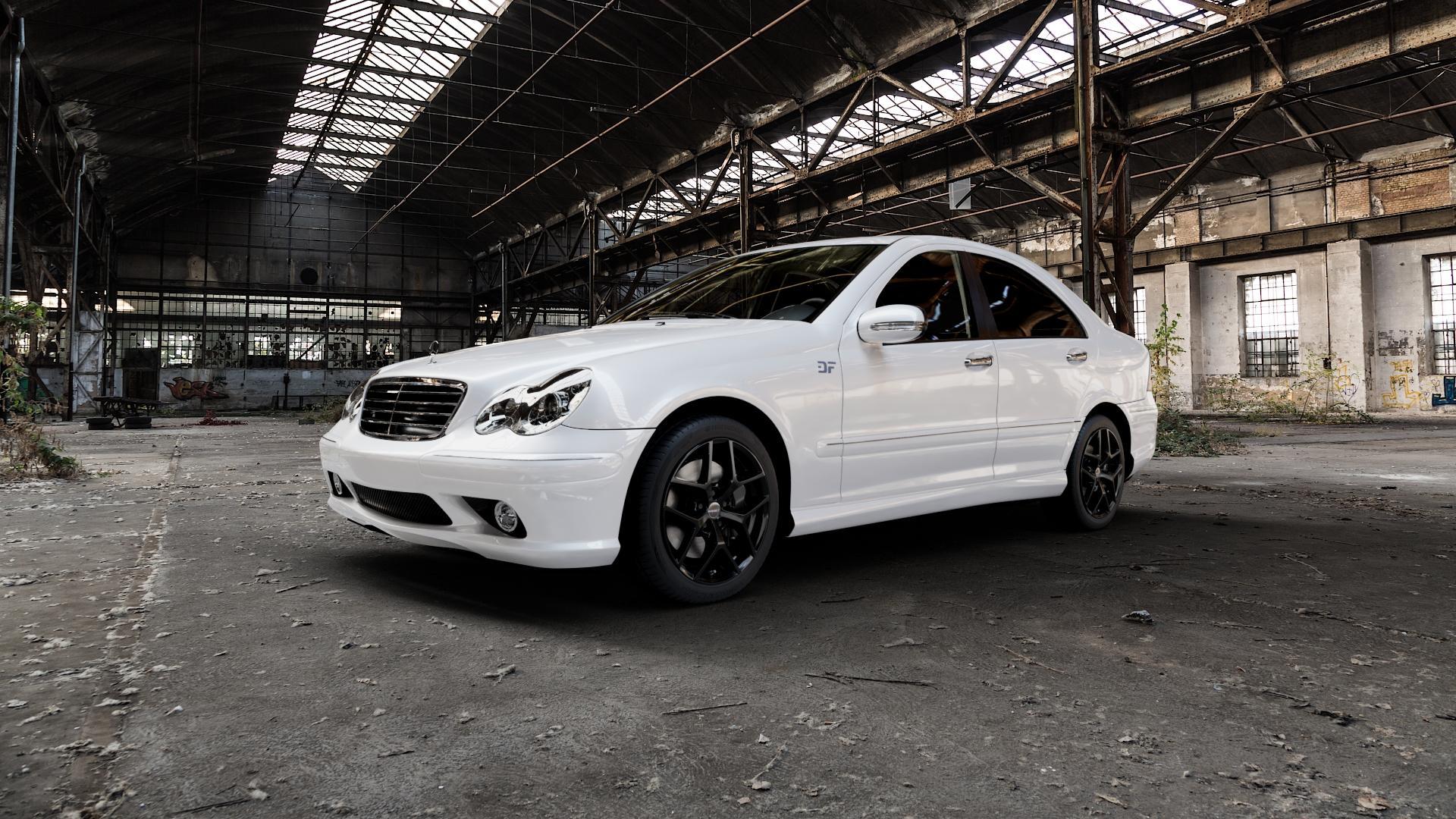 Borbet Y black glossy Felge mit Reifen schwarz in 17Zoll Winterfelge Alufelge auf weissem Mercedes C-Klasse Typ W203 Limousine S203 Kombi ⬇️ mit 15mm Tieferlegung ⬇️ Industriehalle 1 Camera_000