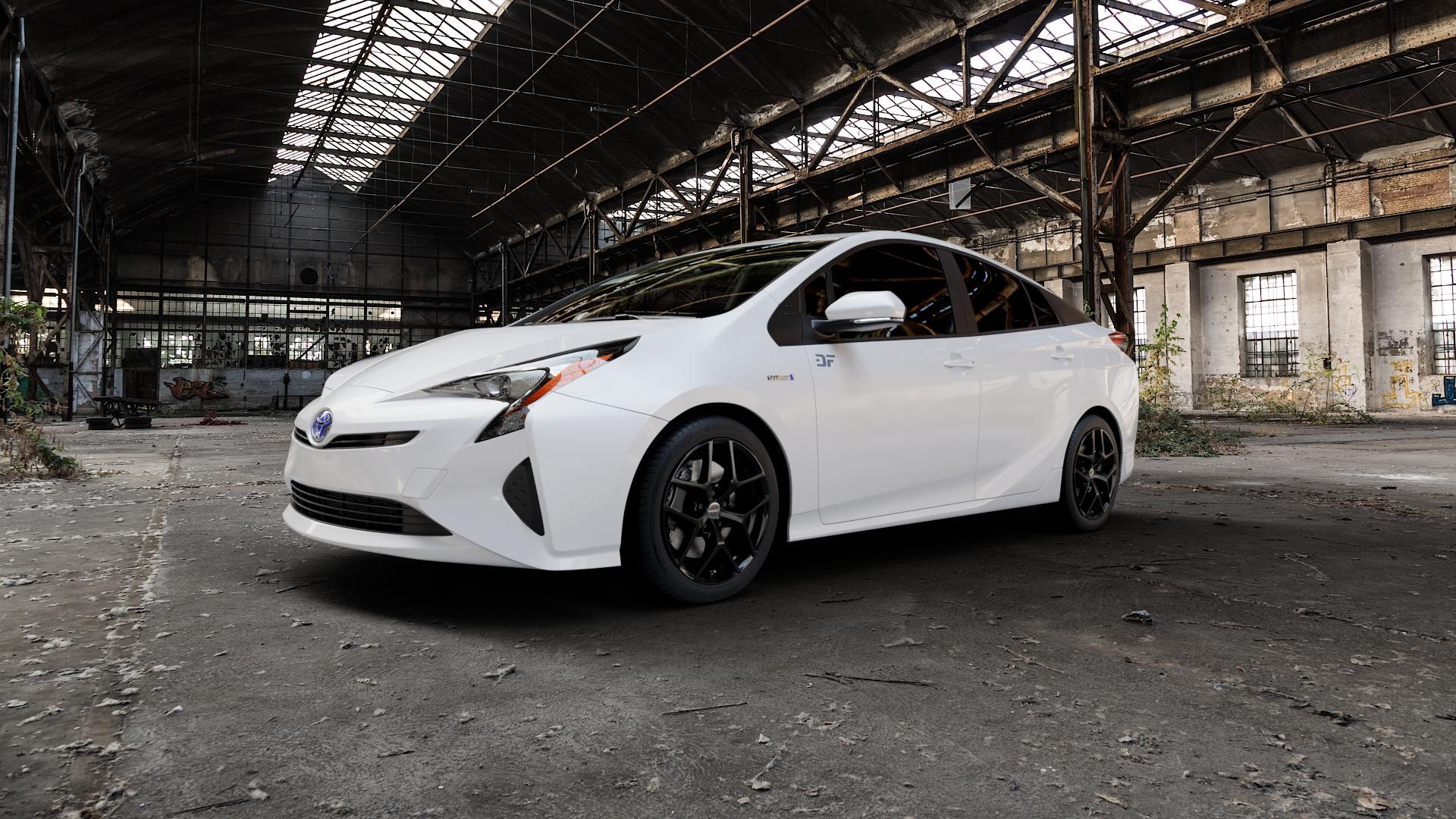 Borbet Y black glossy Felge mit Reifen schwarz in 17Zoll Winterfelge Alufelge auf weissem Toyota Prius IV Typ XW5 ⬇️ mit 15mm Tieferlegung ⬇️ Industriehalle 1 Camera_000