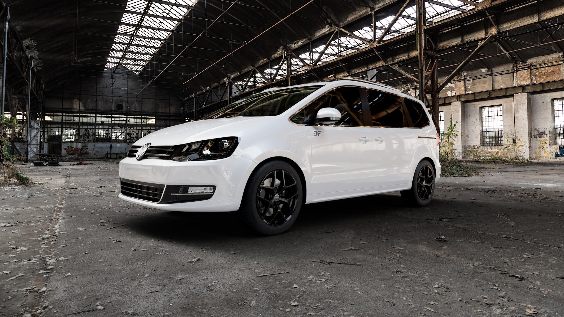 Borbet Y black glossy Felge mit Reifen schwarz in 17Zoll Winterfelge Alufelge auf weissem Volkswagen (VW) Sharan III Typ 7N (15->) ⬇️ mit 15mm Tieferlegung ⬇️ Industriehalle 1 Camera_000