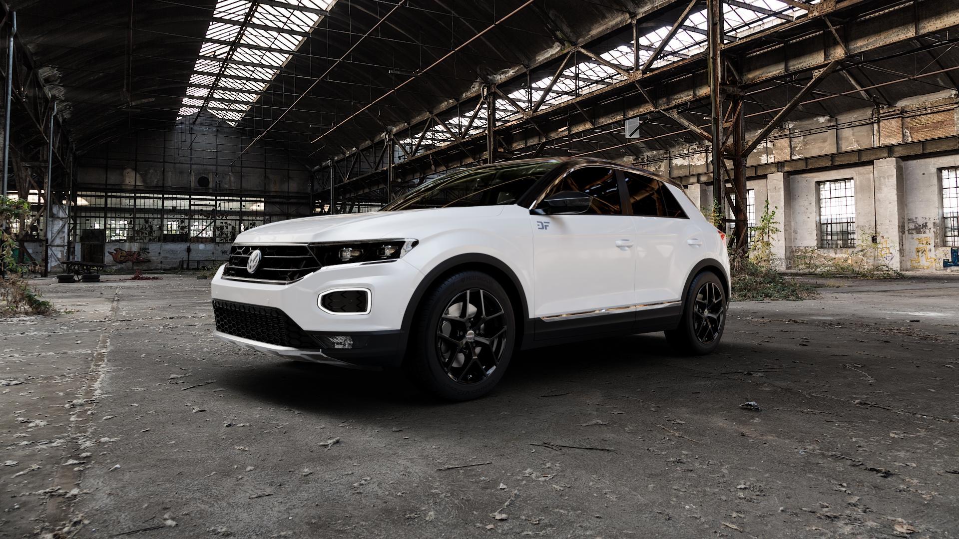 Borbet Y black glossy Felge mit Reifen schwarz in 17Zoll Winterfelge Alufelge auf weissem Volkswagen (VW) T-Roc ⬇️ mit 15mm Tieferlegung ⬇️ Industriehalle 1 Camera_000