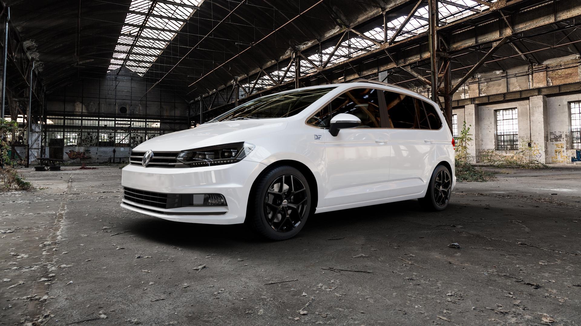 Borbet Y black glossy Felge mit Reifen schwarz in 17Zoll Winterfelge Alufelge auf weissem Volkswagen (VW) Touran III Typ 1T (15->) ⬇️ mit 15mm Tieferlegung ⬇️ Industriehalle 1 Camera_000