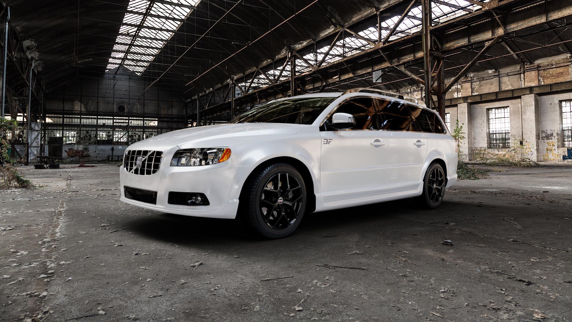Borbet Y black glossy Felge mit Reifen schwarz in 17Zoll Winterfelge Alufelge auf weissem Volvo V70 III Typ B ⬇️ mit 15mm Tieferlegung ⬇️ Industriehalle 1 Camera_000