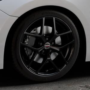 Borbet Y black glossy Felge mit Reifen schwarz in 18Zoll Winterfelge Alufelge auf silbernem Mazda 3 (13-) Stufenheck (BM) Sport (17-) Facelift Fließheck ⬇️ mit 15mm Tieferlegung ⬇️ Industriehalle 1 Thumbnail