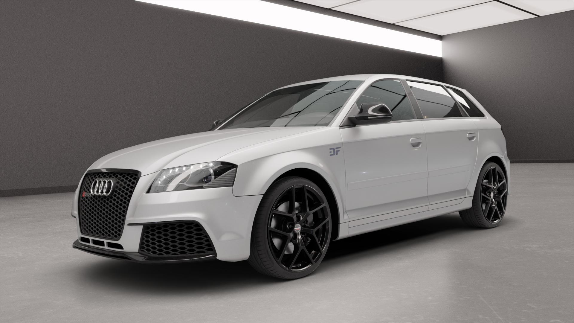 Borbet Y black glossy Felge mit Reifen schwarz in 19Zoll Winterfelge Alufelge auf silbernem Audi A3 Typ 8P (Sportback) 2,5l RS3 quattro 250kW (340 PS) ⬇️ mit 15mm Tieferlegung ⬇️ Neutral_near_max4650mm Frontansicht_1