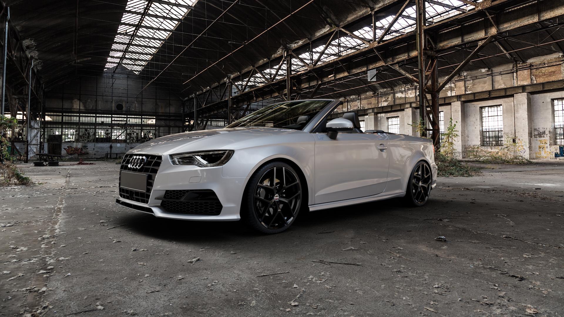 Borbet Y black glossy Felge mit Reifen schwarz in 19Zoll Winterfelge Alufelge auf silbernem Audi A3 Typ 8V (Cabriolet) ⬇️ mit 15mm Tieferlegung ⬇️ Industriehalle 1 Camera_000