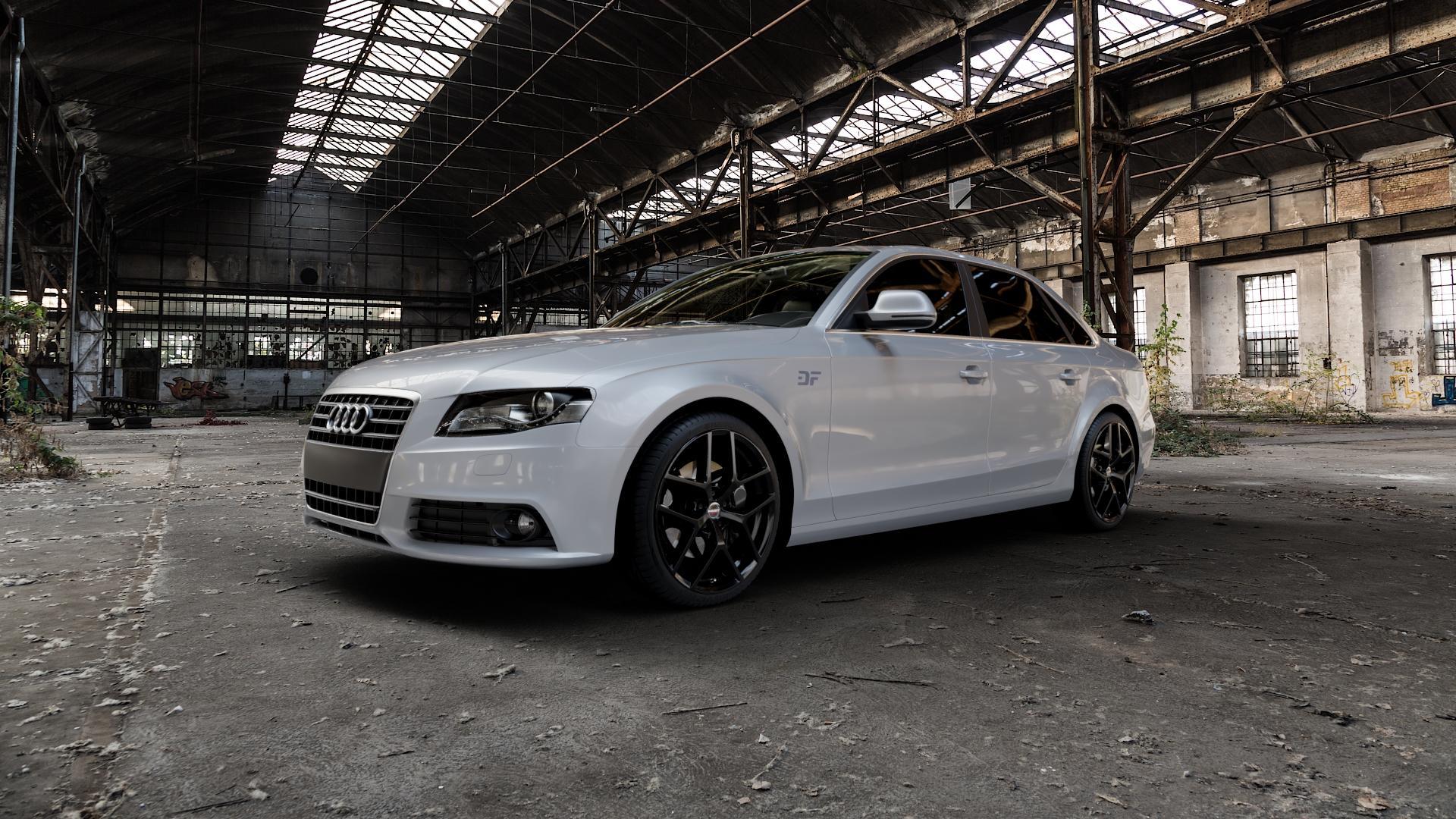 Borbet Y black glossy Felge mit Reifen schwarz in 19Zoll Winterfelge Alufelge auf silbernem Audi A4 Typ 8K2/B8 (Limousine) ⬇️ mit 15mm Tieferlegung ⬇️ Industriehalle 1 Camera_000