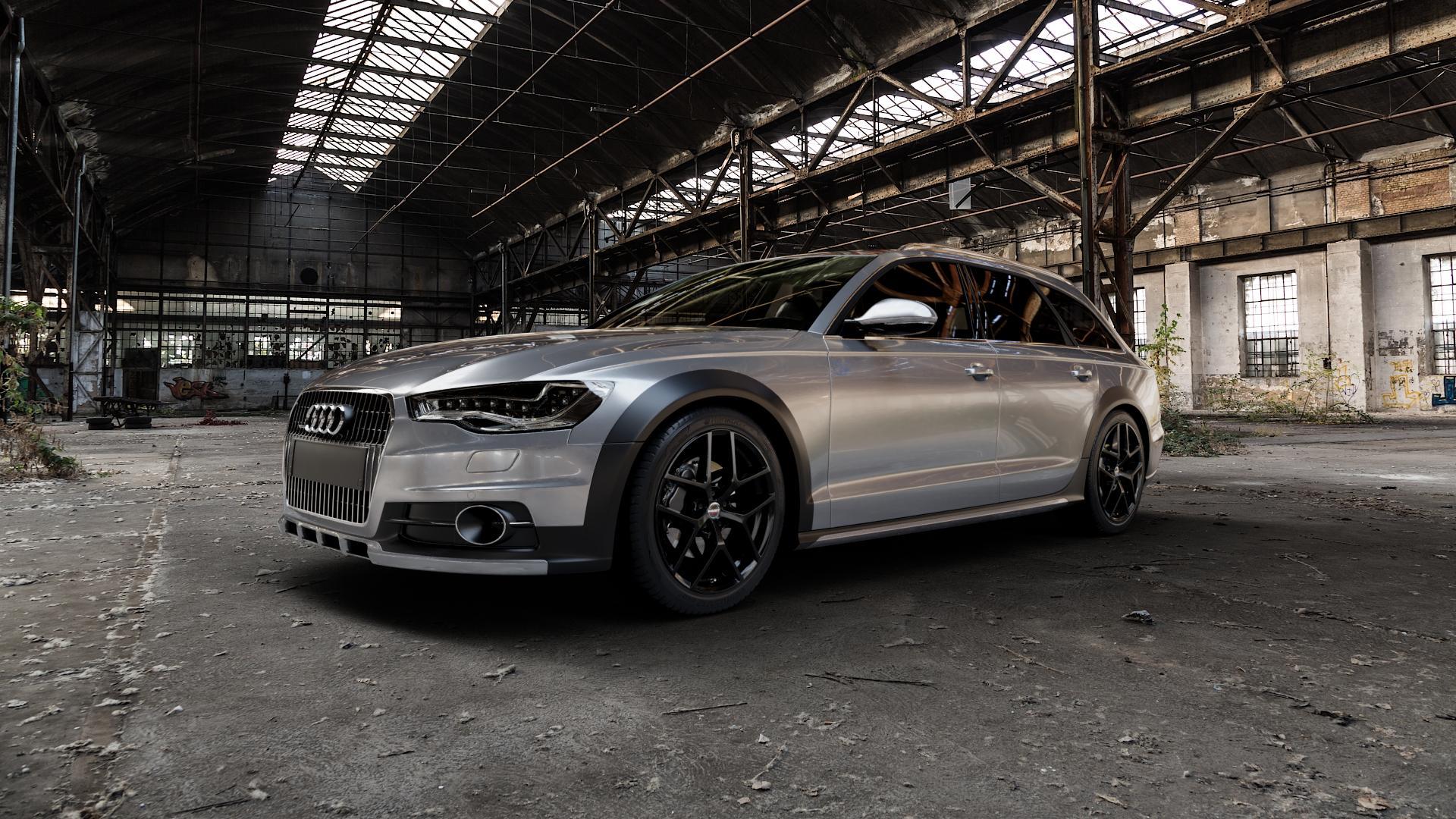 Borbet Y black glossy Felge mit Reifen schwarz in 19Zoll Winterfelge Alufelge auf silbernem Audi A6 Allroad Quattro Typ 4G/C7 ⬇️ mit 15mm Tieferlegung ⬇️ Industriehalle 1 Camera_000