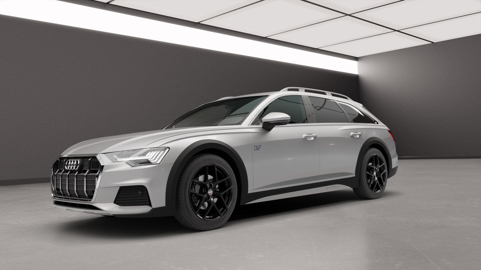 Borbet Y black glossy Felge mit Reifen schwarz in 19Zoll Winterfelge Alufelge auf silbernem Audi A6 Allroad Quattro Typ F2/C8 ⬇️ mit 15mm Tieferlegung ⬇️ Neutral_mid_max5300mm Frontansicht_1