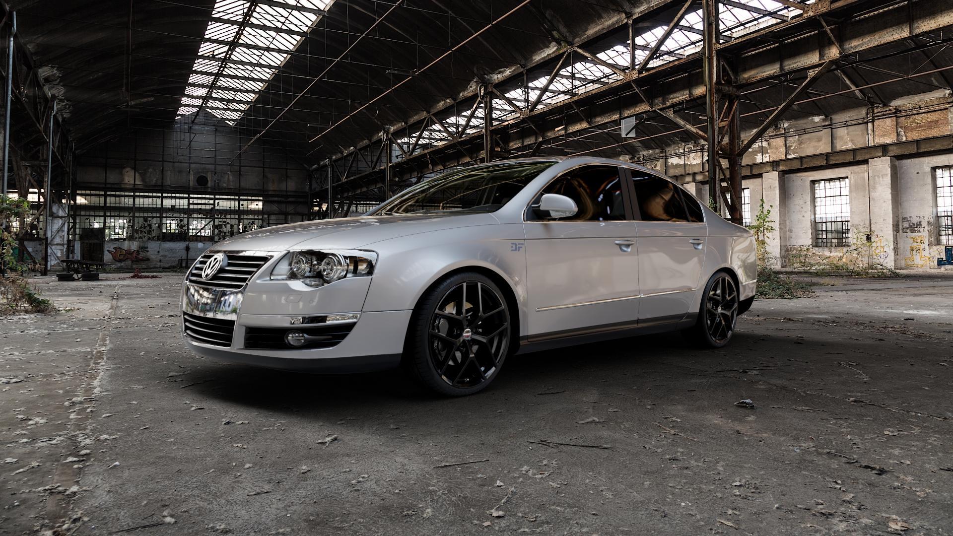 Borbet Y black glossy Felge mit Reifen schwarz in 19Zoll Winterfelge Alufelge auf silbernem Volkswagen (VW) Passat 3C/B6 Limousine ⬇️ mit 15mm Tieferlegung ⬇️ Industriehalle 1 Camera_000