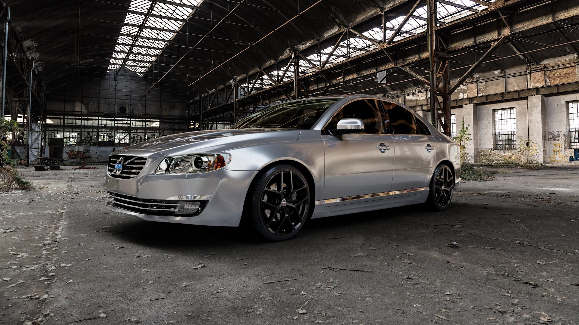 Borbet Y black glossy Felge mit Reifen schwarz in 19Zoll Winterfelge Alufelge auf silbernem Volvo S80 II Typ A ⬇️ mit 15mm Tieferlegung ⬇️ Industriehalle 1 Camera_000