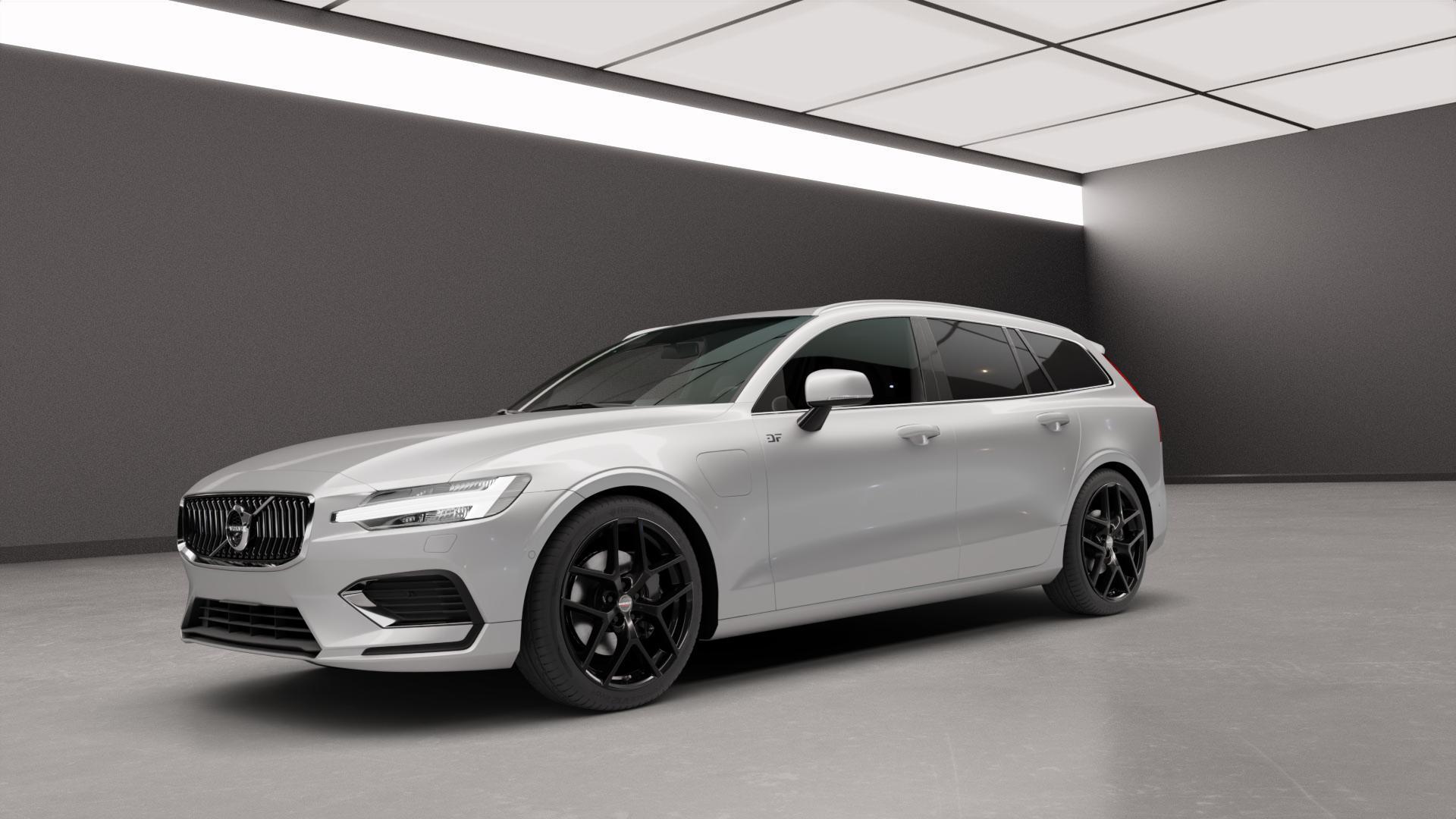 Borbet Y black glossy Felge mit Reifen schwarz in 19Zoll Winterfelge Alufelge auf silbernem Volvo V60 Typ Z ⬇️ mit 15mm Tieferlegung ⬇️ Neutral_mid_max5300mm Frontansicht_1