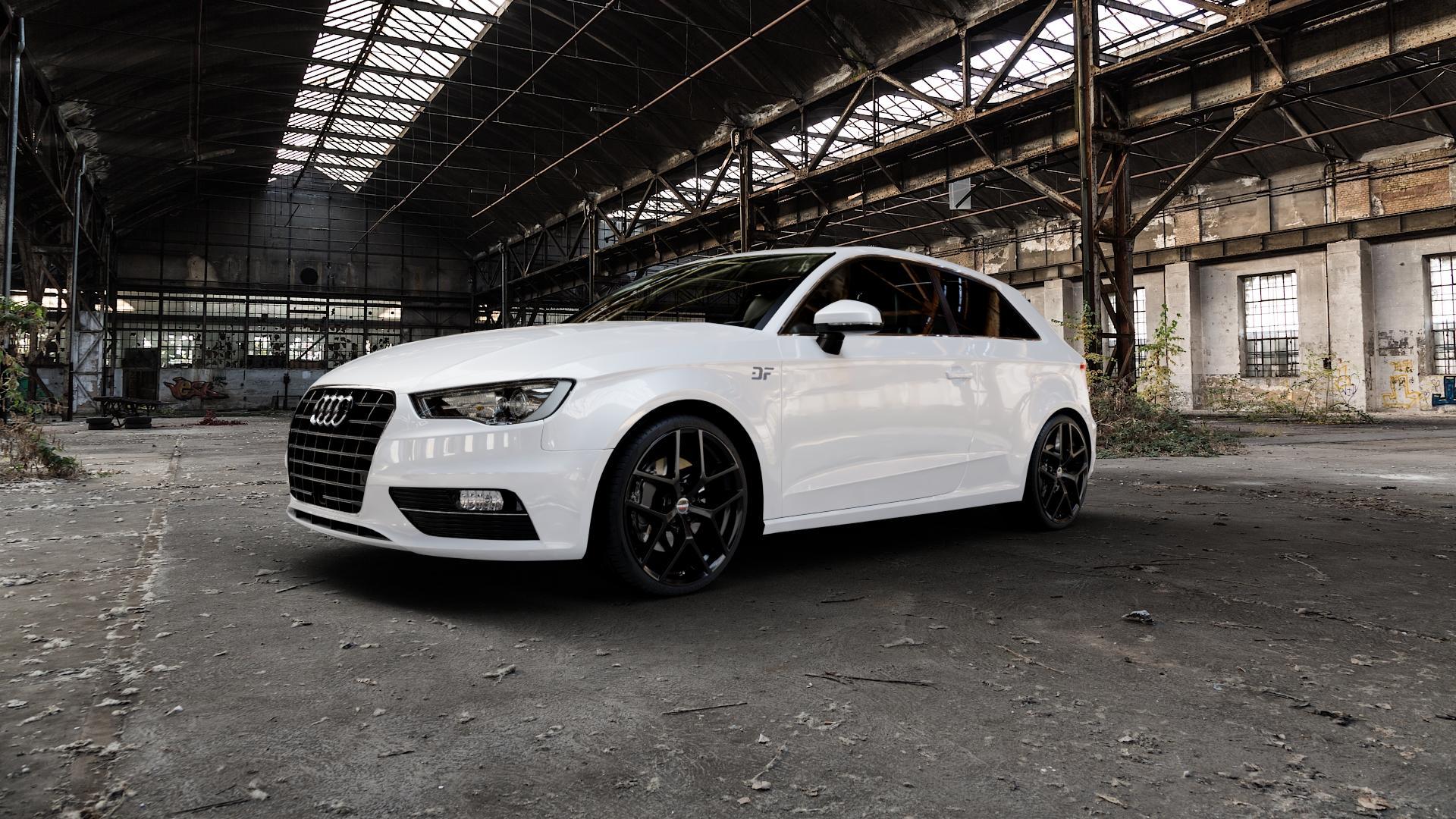 Borbet Y black glossy Felge mit Reifen schwarz in 19Zoll Winterfelge Alufelge auf weissem Audi A3 Typ 8V ⬇️ mit 15mm Tieferlegung ⬇️ Industriehalle 1 Camera_000