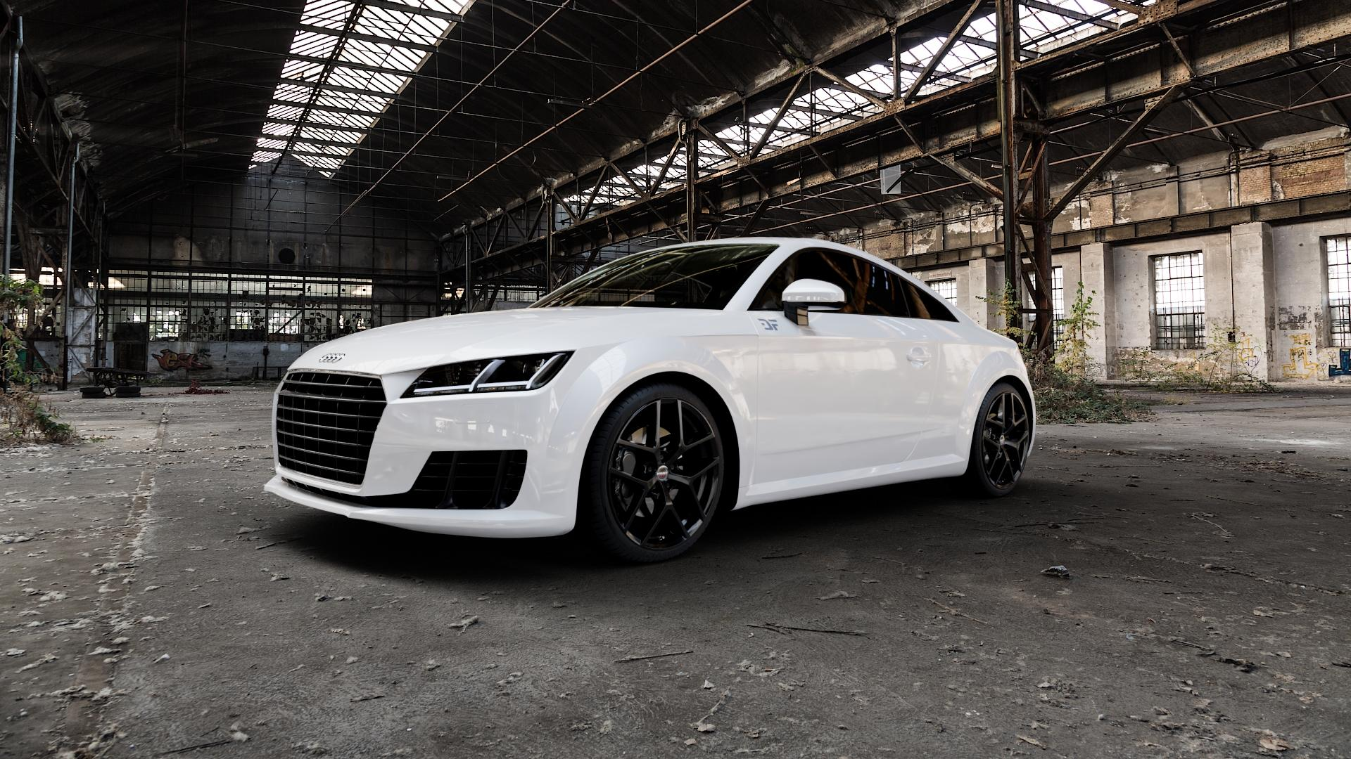 Borbet Y black glossy Felge mit Reifen schwarz in 19Zoll Winterfelge Alufelge auf weissem Audi TT III Typ 8S (Coupé) (Roadster) ⬇️ mit 15mm Tieferlegung ⬇️ Industriehalle 1 Camera_000