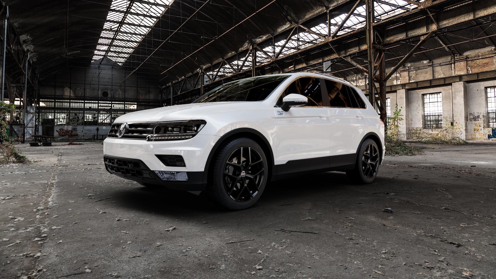 Borbet Y black glossy Felge mit Reifen schwarz in 19Zoll Winterfelge Alufelge auf weissem Volkswagen (VW) Tiguan II Typ 5N ⬇️ mit 15mm Tieferlegung ⬇️ Industriehalle 1 Camera_000