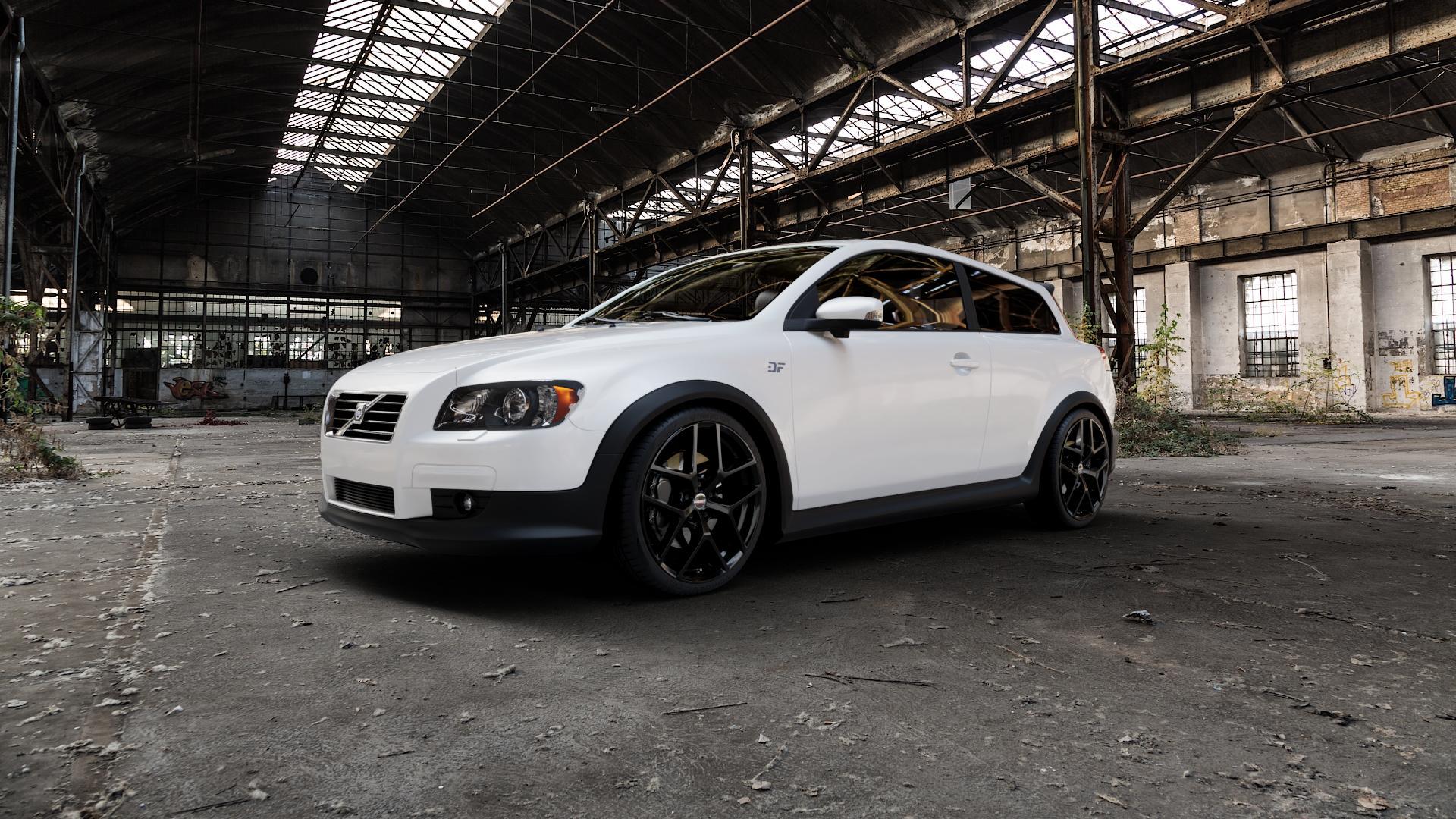 Borbet Y black glossy Felge mit Reifen schwarz in 19Zoll Winterfelge Alufelge auf weissem Volvo C30 ⬇️ mit 15mm Tieferlegung ⬇️ Industriehalle 1 Camera_000