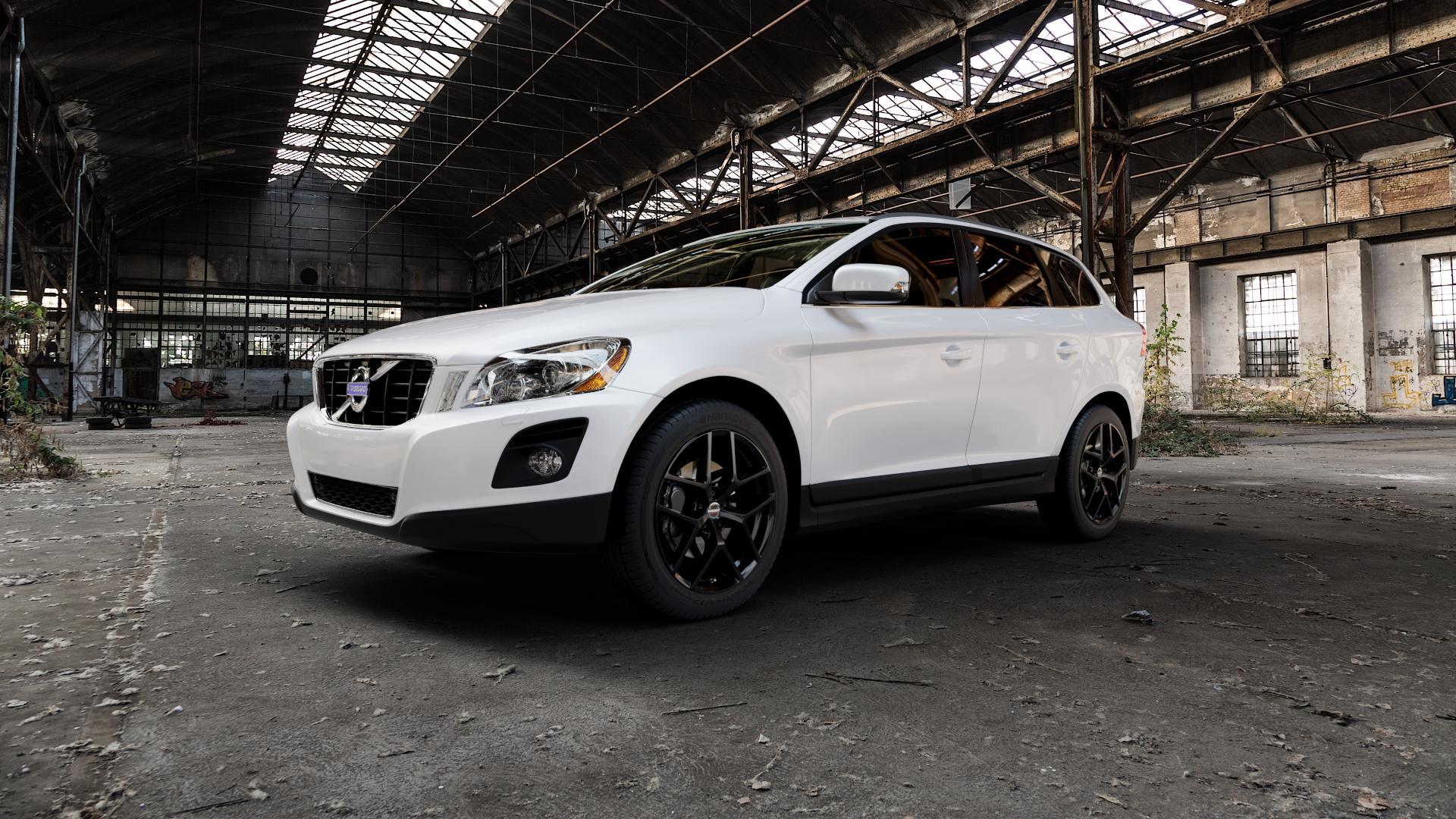 Borbet Y black glossy Felge mit Reifen schwarz in 19Zoll Winterfelge Alufelge auf weissem Volvo XC60 Typ D ⬇️ mit 15mm Tieferlegung ⬇️ Industriehalle 1 Camera_000