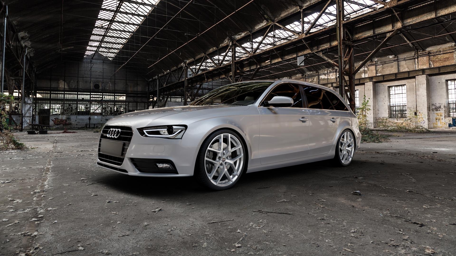 Borbet Y hyper silver Felge mit Reifen silber in 20Zoll Winterfelge Alufelge auf silbernem Audi A4 Typ 8K5/B8 (Avant) Facelift ⬇️ mit 15mm Tieferlegung ⬇️ Industriehalle 1 Camera_000