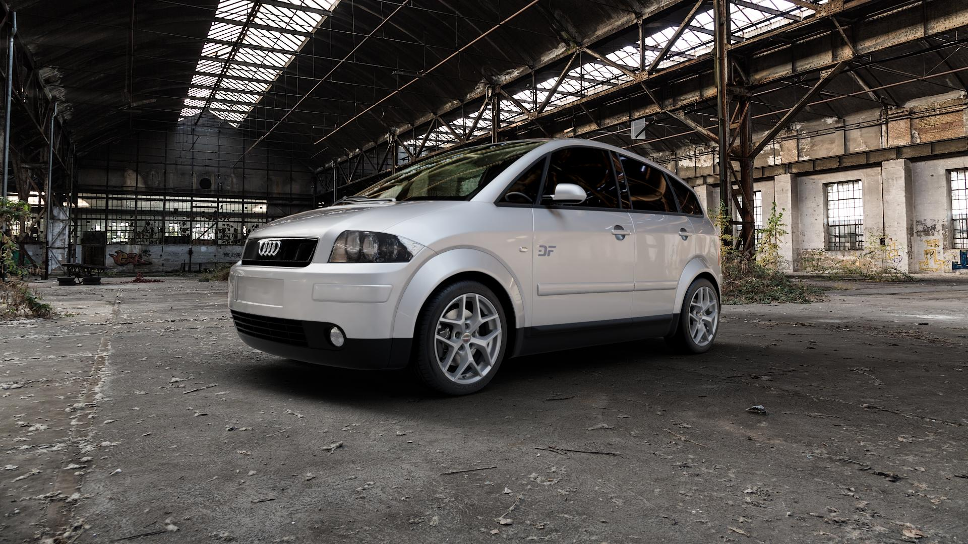 Borbet Y titan matt Felge mit Reifen grau in 16Zoll Winterfelge Alufelge auf silbernem Audi A2 Typ 8Z ⬇️ mit 15mm Tieferlegung ⬇️ Industriehalle 1 Camera_000