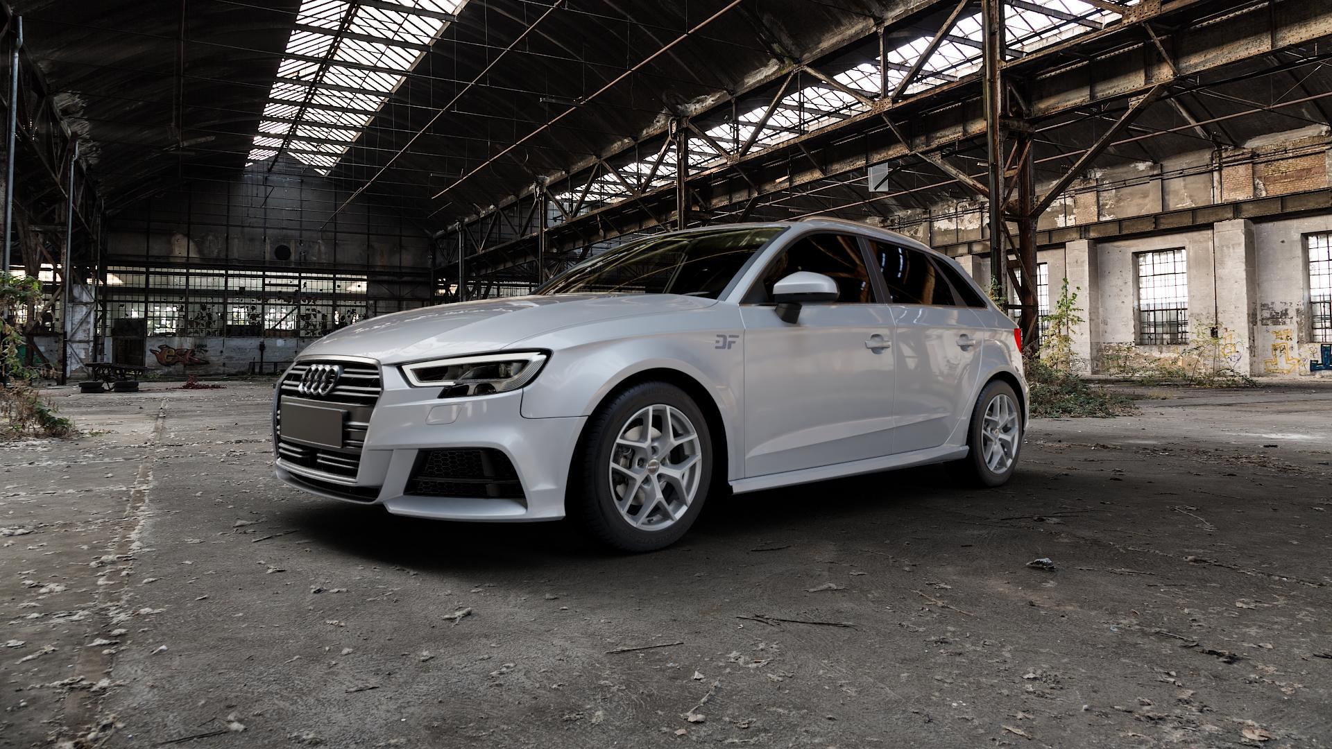 Borbet Y titan matt Felge mit Reifen grau in 16Zoll Winterfelge Alufelge auf silbernem Audi A3 Typ 8V (Sportback) Facelift ⬇️ mit 15mm Tieferlegung ⬇️ Industriehalle 1 Camera_000