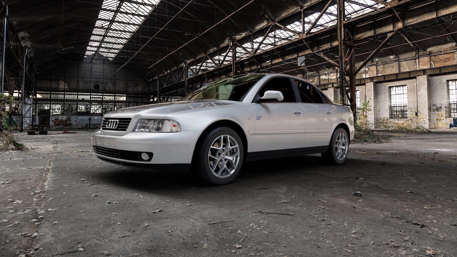 Borbet Y titan matt Felge mit Reifen grau in 16Zoll Winterfelge Alufelge auf silbernem Audi A4 Typ 8D2/B5 (Limousine) ⬇️ mit 15mm Tieferlegung ⬇️ Industriehalle 1 Camera_000