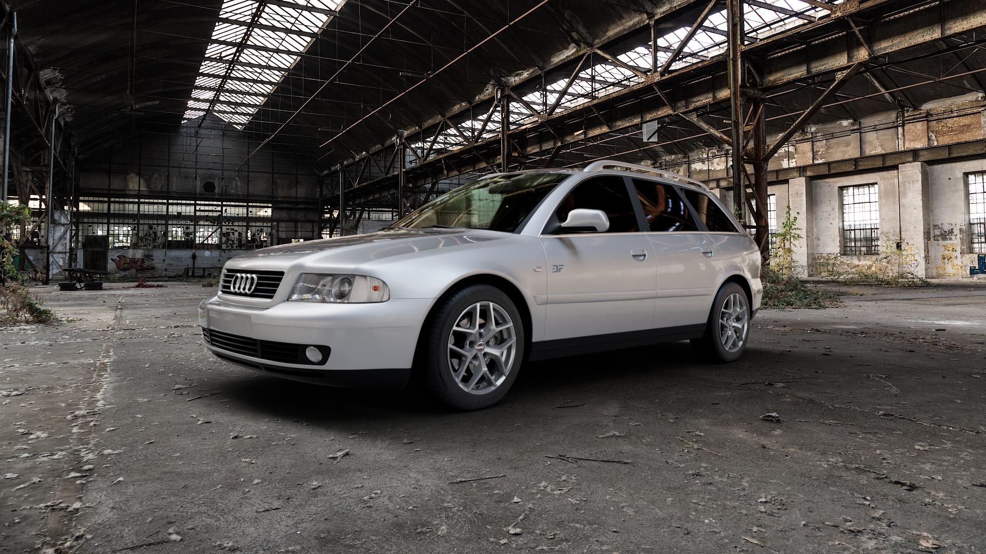 Borbet Y titan matt Felge mit Reifen grau in 16Zoll Winterfelge Alufelge auf silbernem Audi A4 Typ 8D5/B5 (Avant) ⬇️ mit 15mm Tieferlegung ⬇️ Industriehalle 1 Camera_000