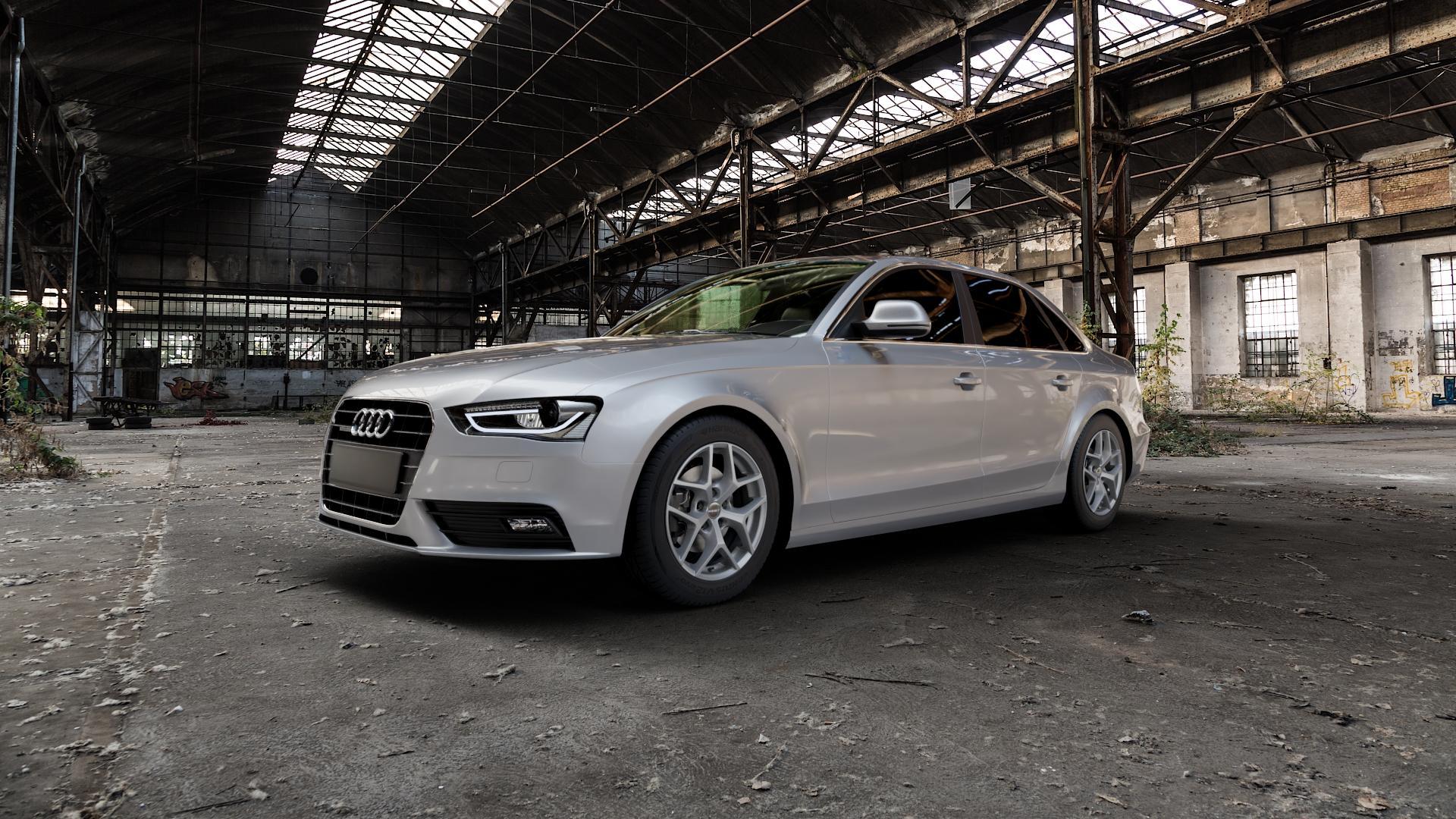 Borbet Y titan matt Felge mit Reifen grau in 16Zoll Winterfelge Alufelge auf silbernem Audi A4 Typ 8K2/B8 (Limousine) Facelift ⬇️ mit 15mm Tieferlegung ⬇️ Industriehalle 1 Camera_000