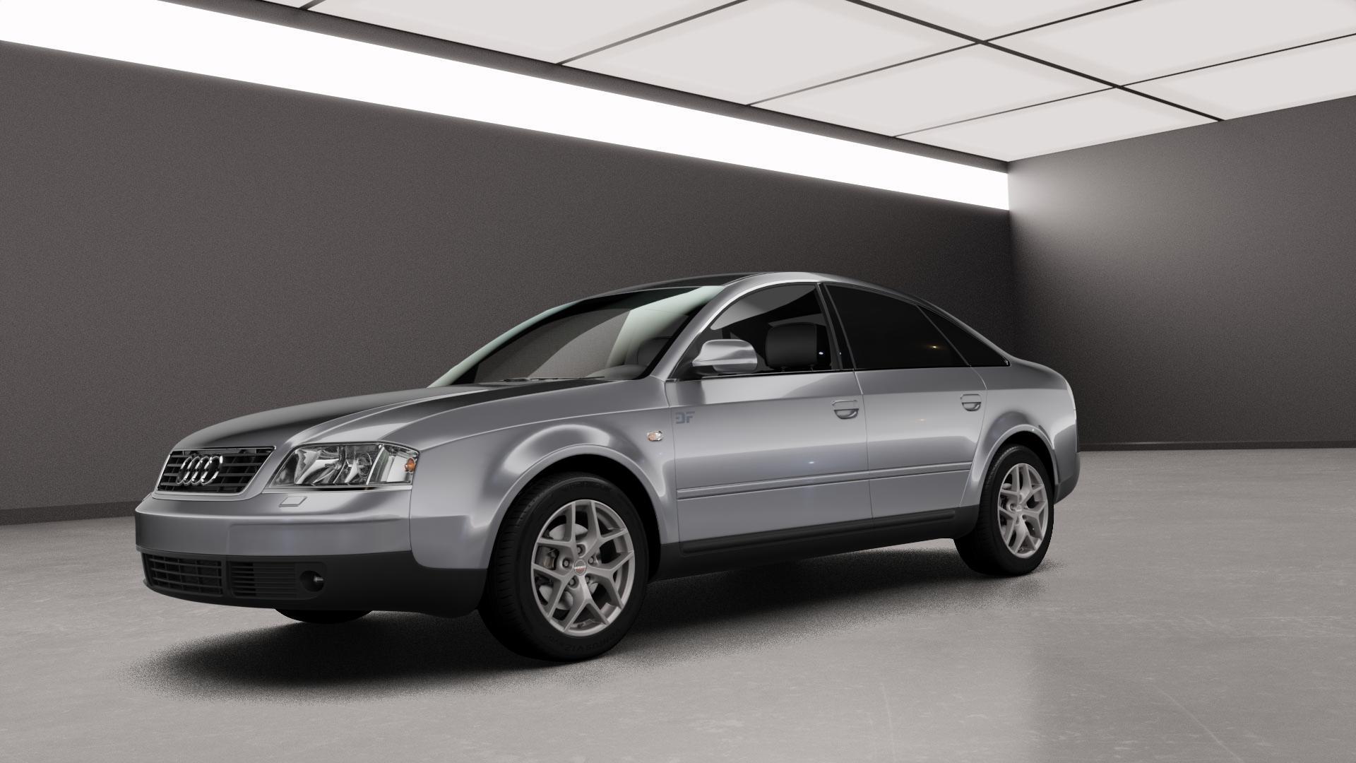 Borbet Y titan matt Felge mit Reifen grau in 16Zoll Winterfelge Alufelge auf silbernem Audi A6 Typ 4B/C5 (Limousine) ⬇️ mit 15mm Tieferlegung ⬇️ Neutral_mid_max5300mm Frontansicht_1