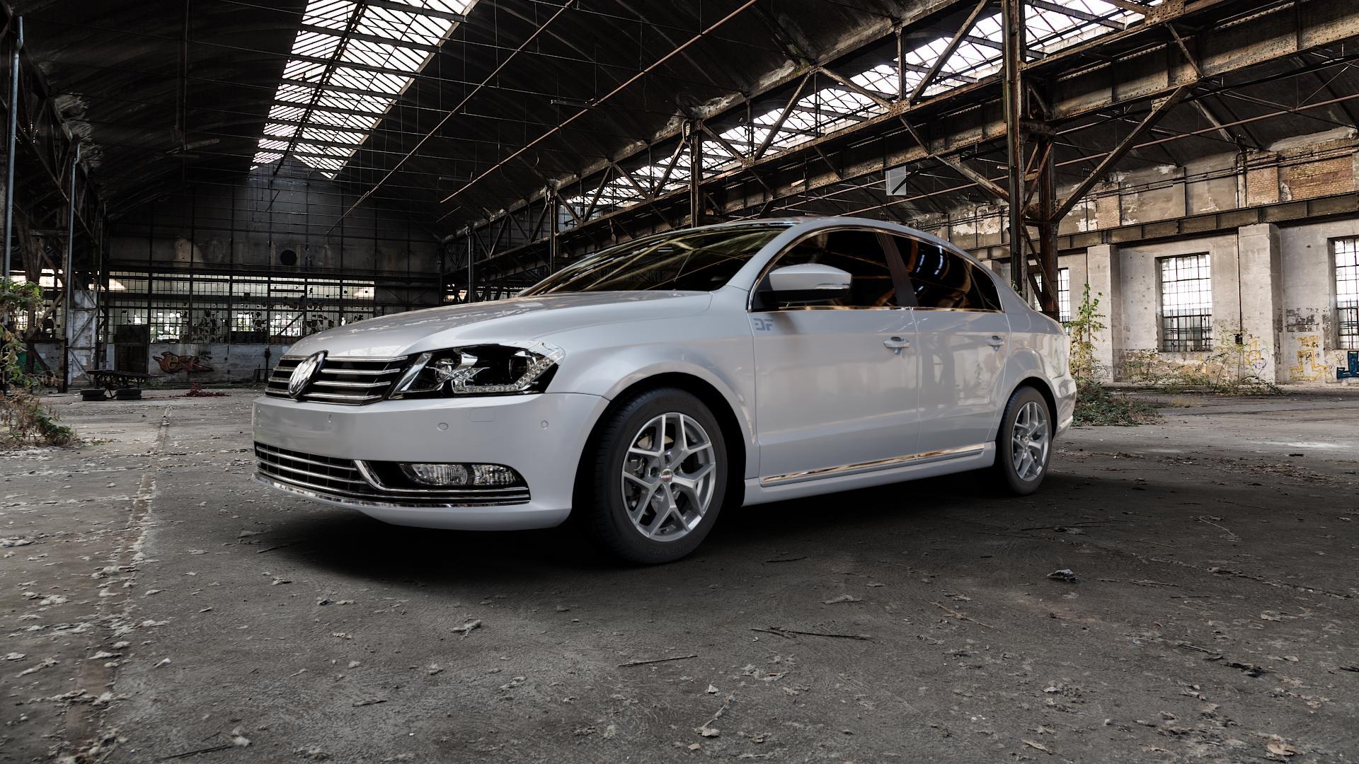 Borbet Y titan matt Felge mit Reifen grau in 16Zoll Winterfelge Alufelge auf silbernem Volkswagen (VW) Passat 3C/B7 Limousine ⬇️ mit 15mm Tieferlegung ⬇️ Industriehalle 1 Camera_000