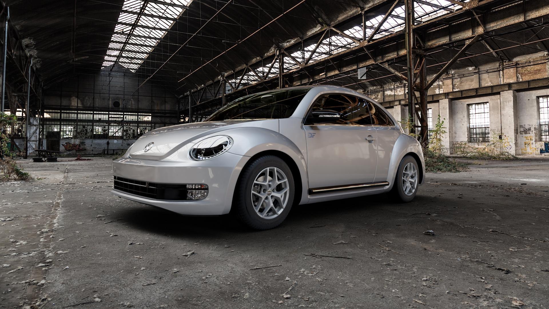 Borbet Y titan matt Felge mit Reifen grau in 16Zoll Winterfelge Alufelge auf silbernem Volkswagen (VW) The Beetle Typ 16 ⬇️ mit 15mm Tieferlegung ⬇️ Industriehalle 1 Camera_000