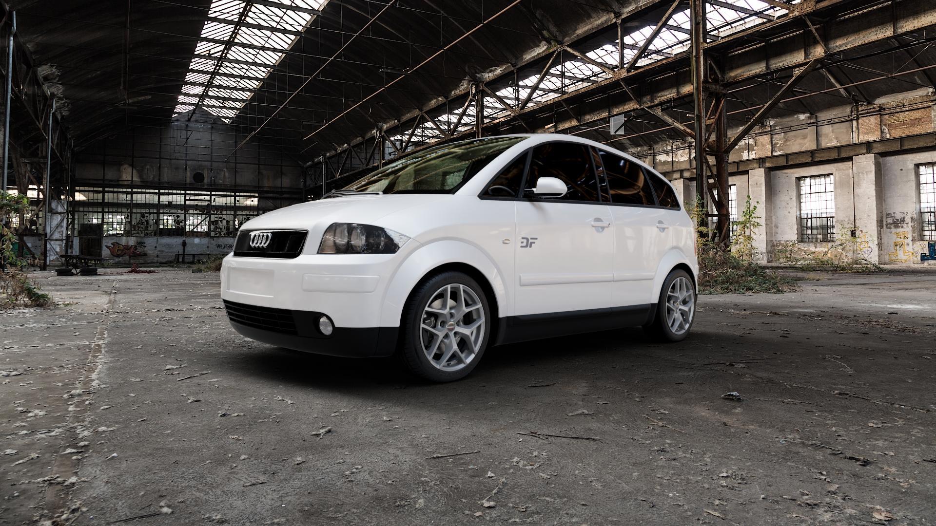 Borbet Y titan matt Felge mit Reifen grau in 16Zoll Winterfelge Alufelge auf weissem Audi A2 Typ 8Z ⬇️ mit 15mm Tieferlegung ⬇️ Industriehalle 1 Camera_000