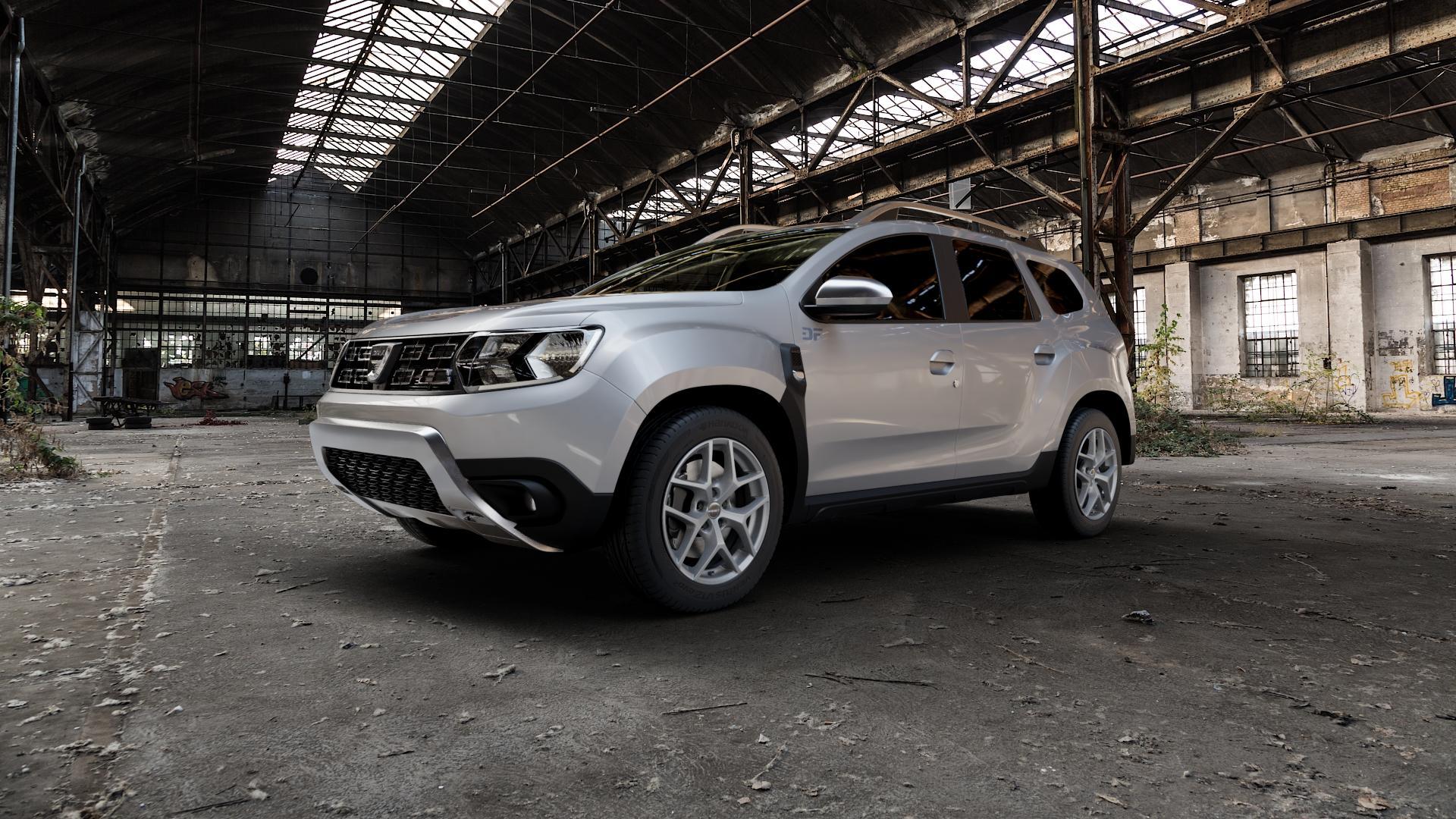 Borbet Y titan matt Felge mit Reifen grau in 17Zoll Winterfelge Alufelge auf silbernem Dacia Duster Typ SR ⬇️ mit 15mm Tieferlegung ⬇️ Industriehalle 1 Camera_000