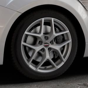 Borbet Y titan matt Felge mit Reifen grau in 17Zoll Winterfelge Alufelge auf silbernem Ford Focus II Typ DA3 (Schrägheck) 2,5l RS 224kW (305 PS) RS500 257kW (349 ⬇️ mit 15mm Tieferlegung ⬇️ Industriehalle 1 Thumbnail
