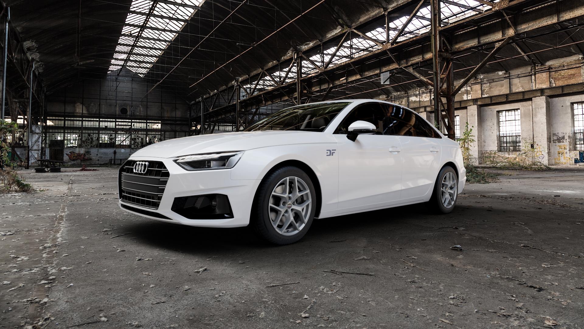 Borbet Y titan matt Felge mit Reifen grau in 17Zoll Winterfelge Alufelge auf weissem Audi A4 Typ B9 (Limousine) Facelift ⬇️ mit 15mm Tieferlegung ⬇️ Industriehalle 1 Camera_000