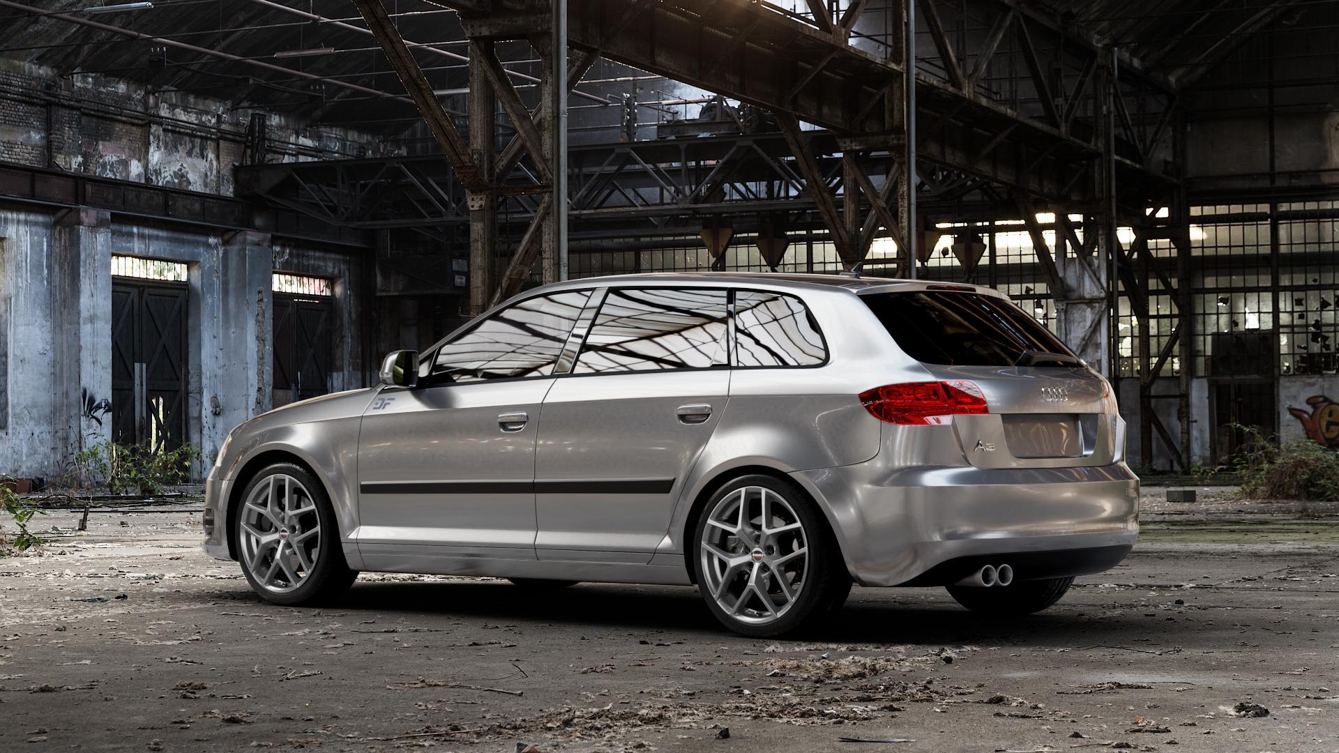 Borbet Y titan matt Felge mit Reifen grau in 18Zoll Winterfelge Alufelge auf silbernem Audi A3 Typ 8P (Sportback) 1,6l 75kW (102 PS) 2,0l FSI 110kW (150 1,9l TDI 77kW (105 103kW (140 TFSI 147kW (200 85kW (116 100kW (136 1,8l 118kW (160 125kW (170 1,4l 92kW (125 120kW (163 quattro 3,2l V6 184kW (250 S3 195kW (265 1,2l 66kW (90