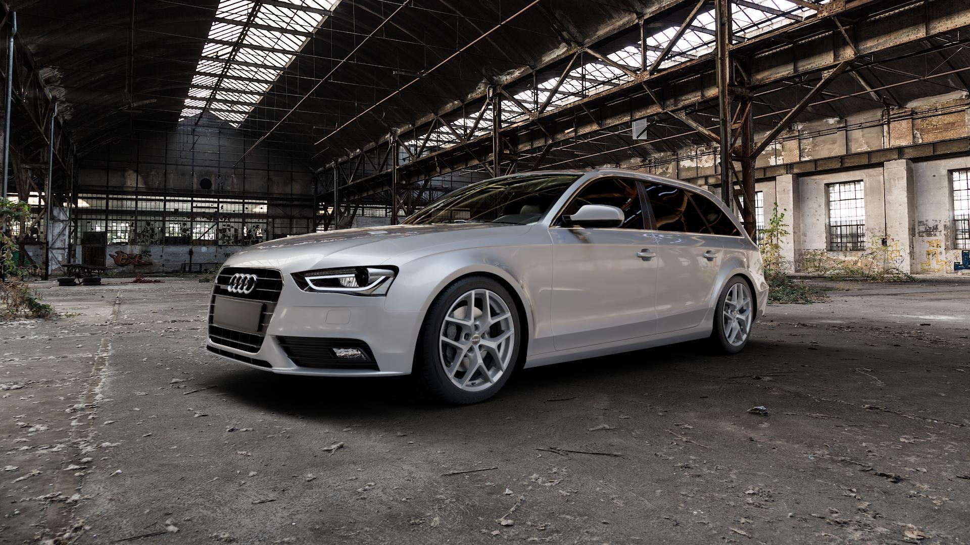 Borbet Y titan matt Felge mit Reifen grau in 18Zoll Winterfelge Alufelge auf silbernem Audi A4 Typ 8K5/B8 (Avant) Facelift ⬇️ mit 15mm Tieferlegung ⬇️ Industriehalle 1 Camera_000