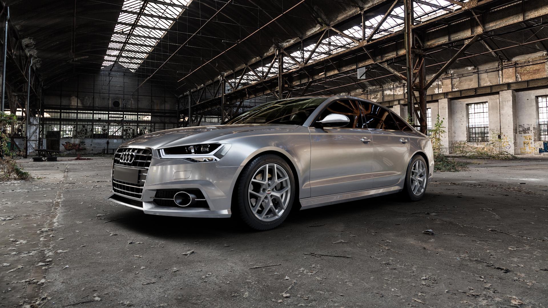 Borbet Y titan matt Felge mit Reifen grau in 18Zoll Winterfelge Alufelge auf silbernem Audi A6 Typ 4G/C7 (Limousine) Facelift ⬇️ mit 15mm Tieferlegung ⬇️ Industriehalle 1 Camera_000