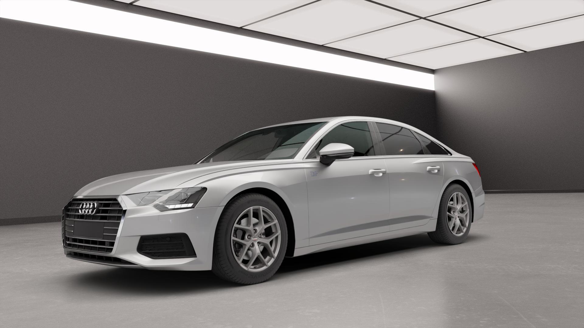 Borbet Y titan matt Felge mit Reifen grau in 18Zoll Winterfelge Alufelge auf silbernem Audi A6 Typ F2/C8 (Limousine) ⬇️ mit 15mm Tieferlegung ⬇️ Neutral_mid_max5300mm Frontansicht_1
