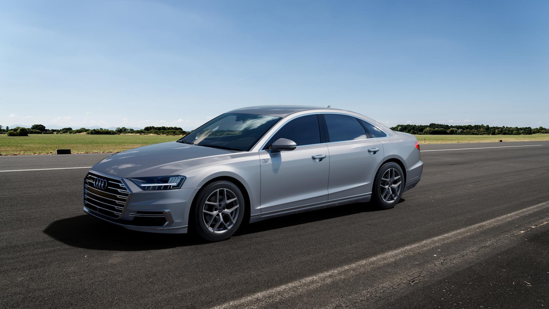 Borbet Y titan matt Felge mit Reifen grau in 18Zoll Winterfelge Alufelge auf silbernem Audi A8 Typ D5/F8 3,0l 60 TFSI e quattro 250kW (340 PS) Hybrid 4,0l 338kW (460 420kW S8 (571 TDI 210kW (286 320kW (435 ⬇️ mit 15mm Tieferlegung ⬇️ Big_Vehicle_Airstrip_1 Frontansicht_1