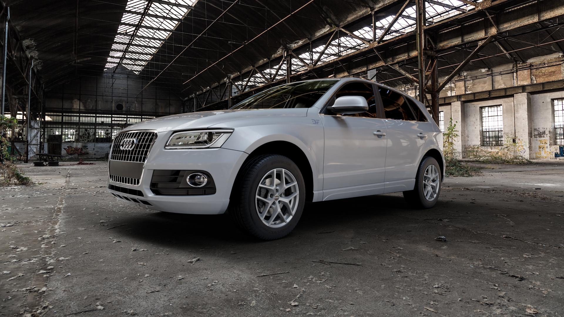 Borbet Y titan matt Felge mit Reifen grau in 18Zoll Winterfelge Alufelge auf silbernem Audi Q5 I Typ 8R ⬇️ mit 15mm Tieferlegung ⬇️ Industriehalle 1 Camera_000